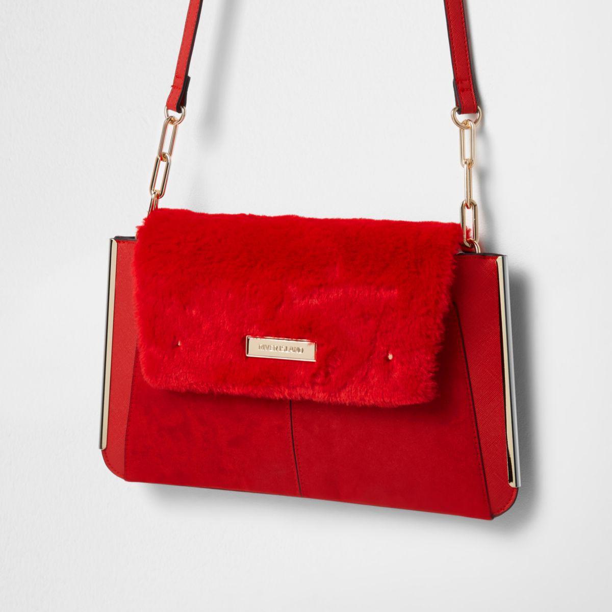 River Island. Women s Red Faux Fur Flap Envelope Clutch Bag Red Faux Fur  Flap Envelope Clutch Bag e5222aff33450