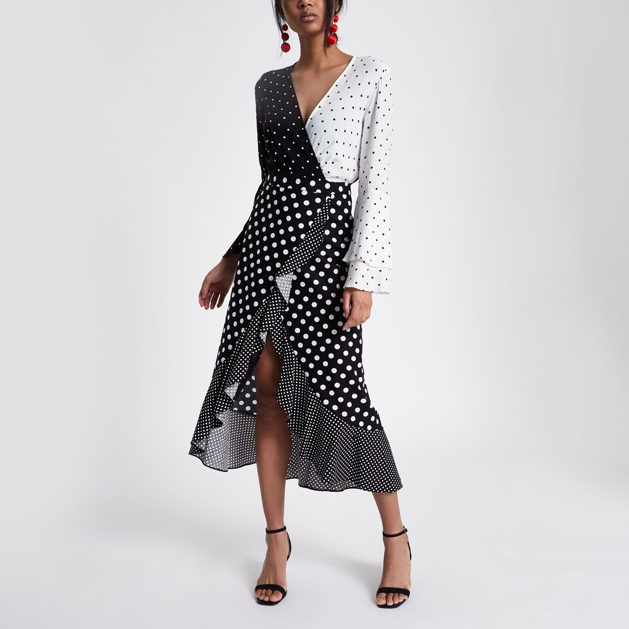 d92ee4c49602c River Island Black Polka Dot Frill Wrap Midi Skirt in Black - Lyst