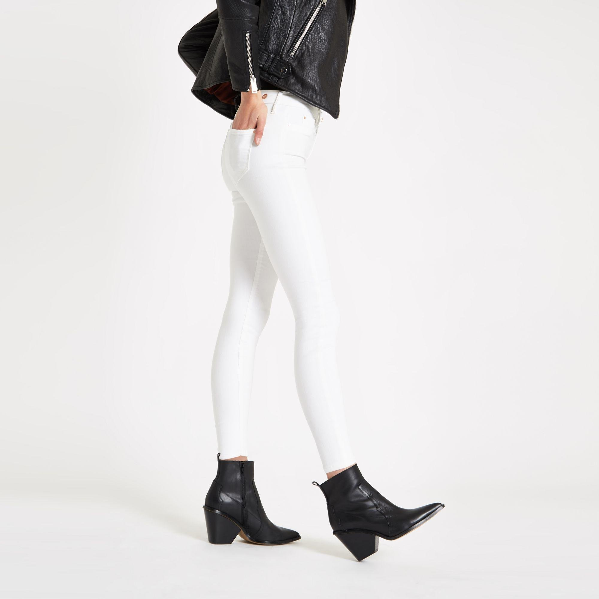 1774028b0159e River Island Molly Mid Rise jeggings in White - Lyst