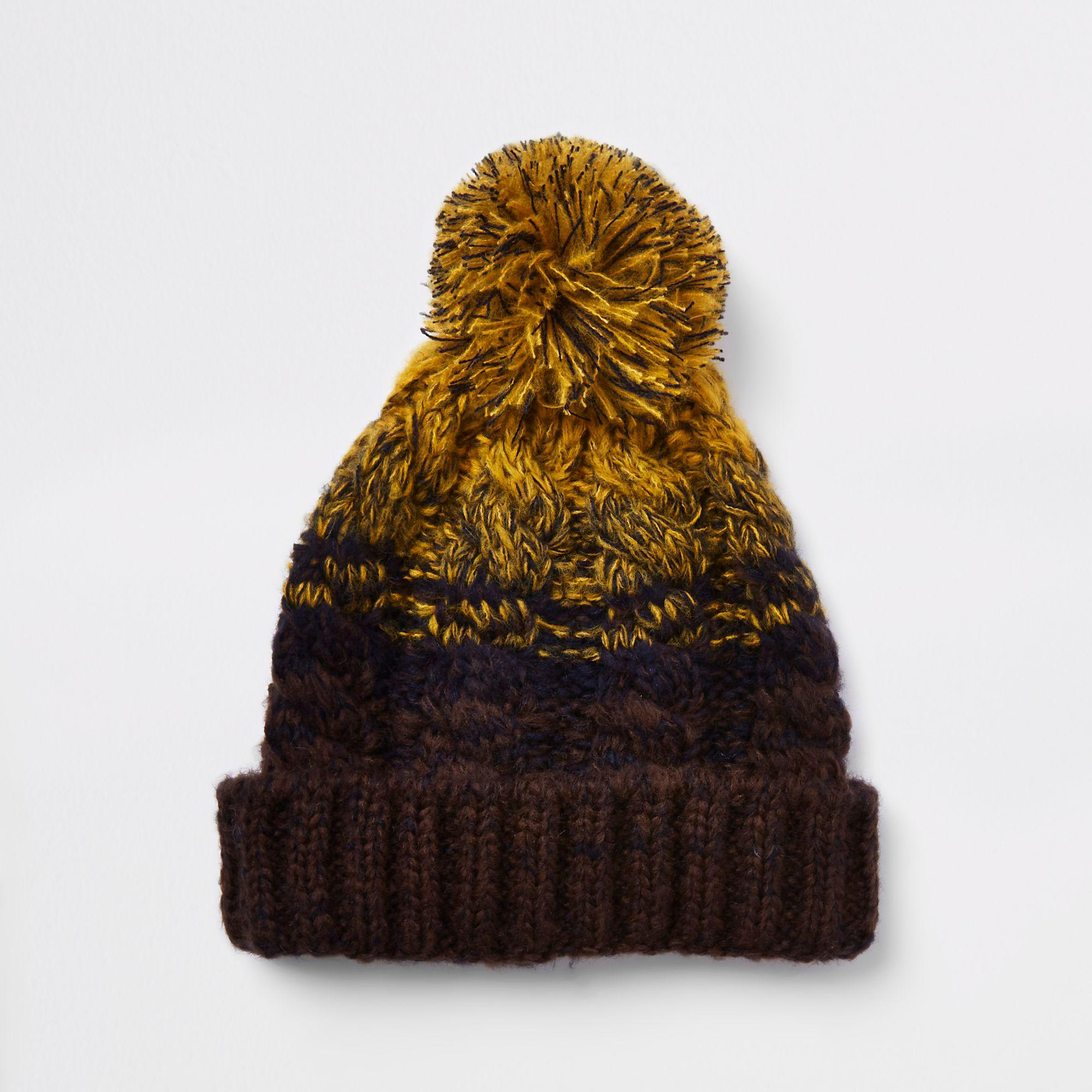 3bb825b88ce River Island Mustard Yellow Cable Knit Bobble Beanie Hat in Yellow ...