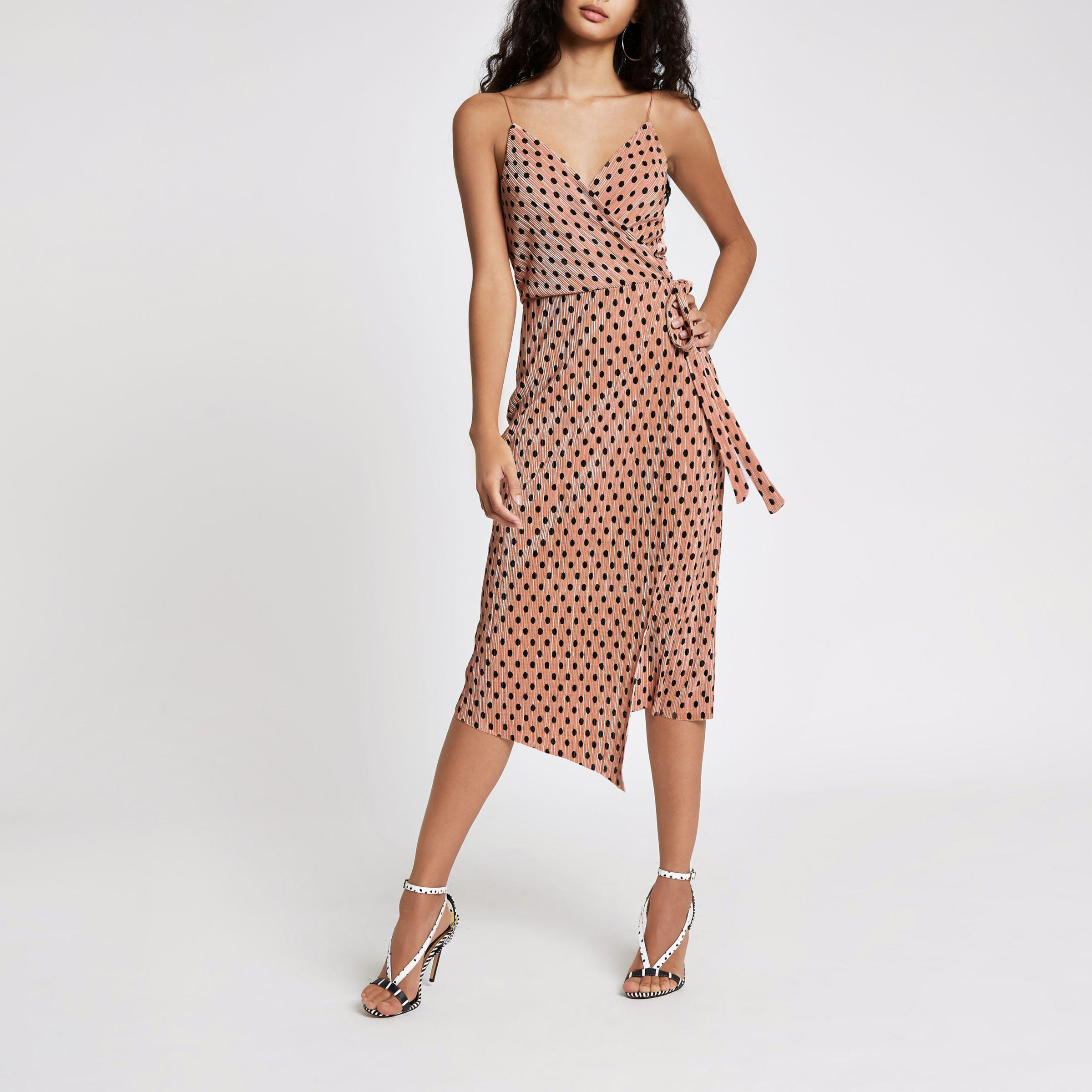 f77726651f River Island Pink Plisse Spot Wrap Midi Slip Dress in Pink - Lyst