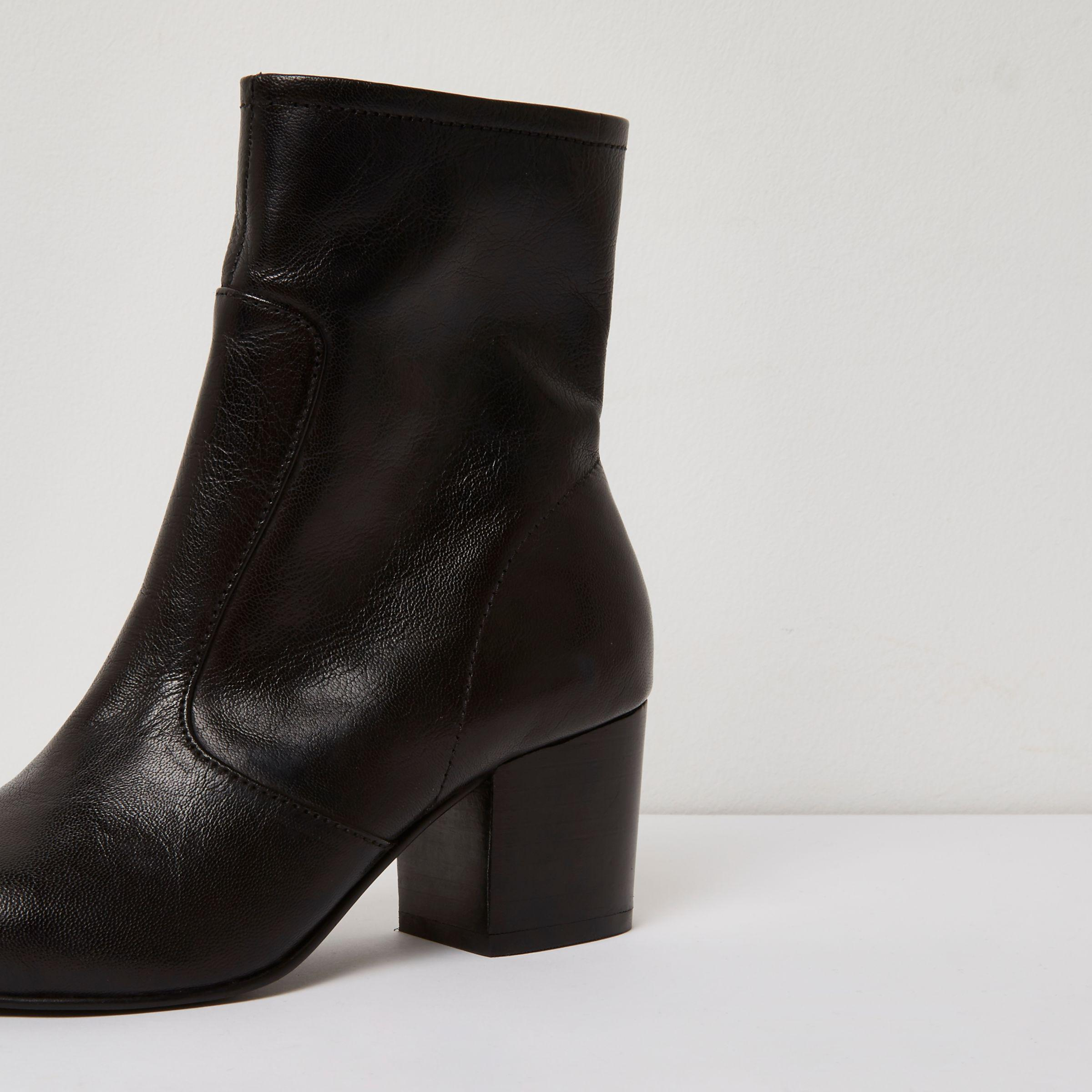 ad5b54ede9ad Lyst - River Island Black Leather Sock Block Heel Ankle Boots in Black