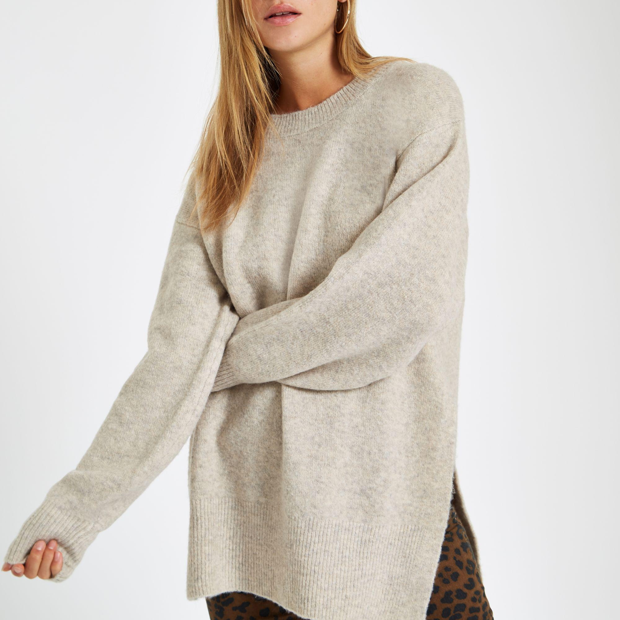 b5a32ede581563 River Island Split Side Knit Jumper in Natural - Lyst
