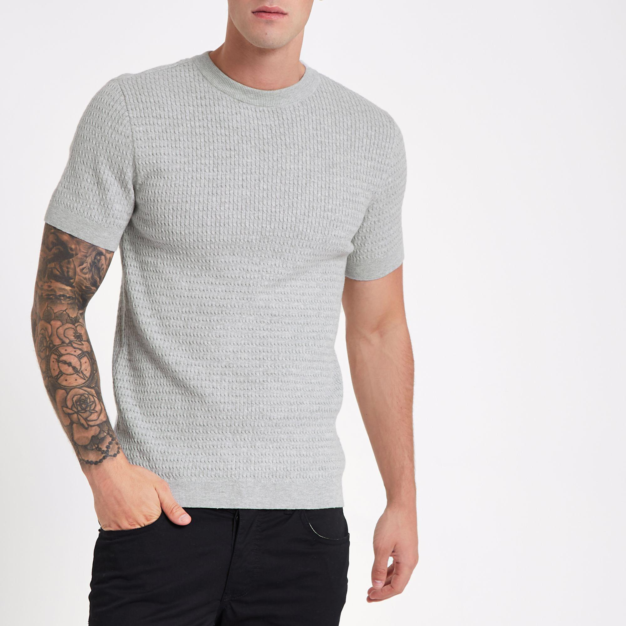 989546fe080 River island muscle fit cable knit shirt in gray for men lyst jpg 2000x2000  Cable knot