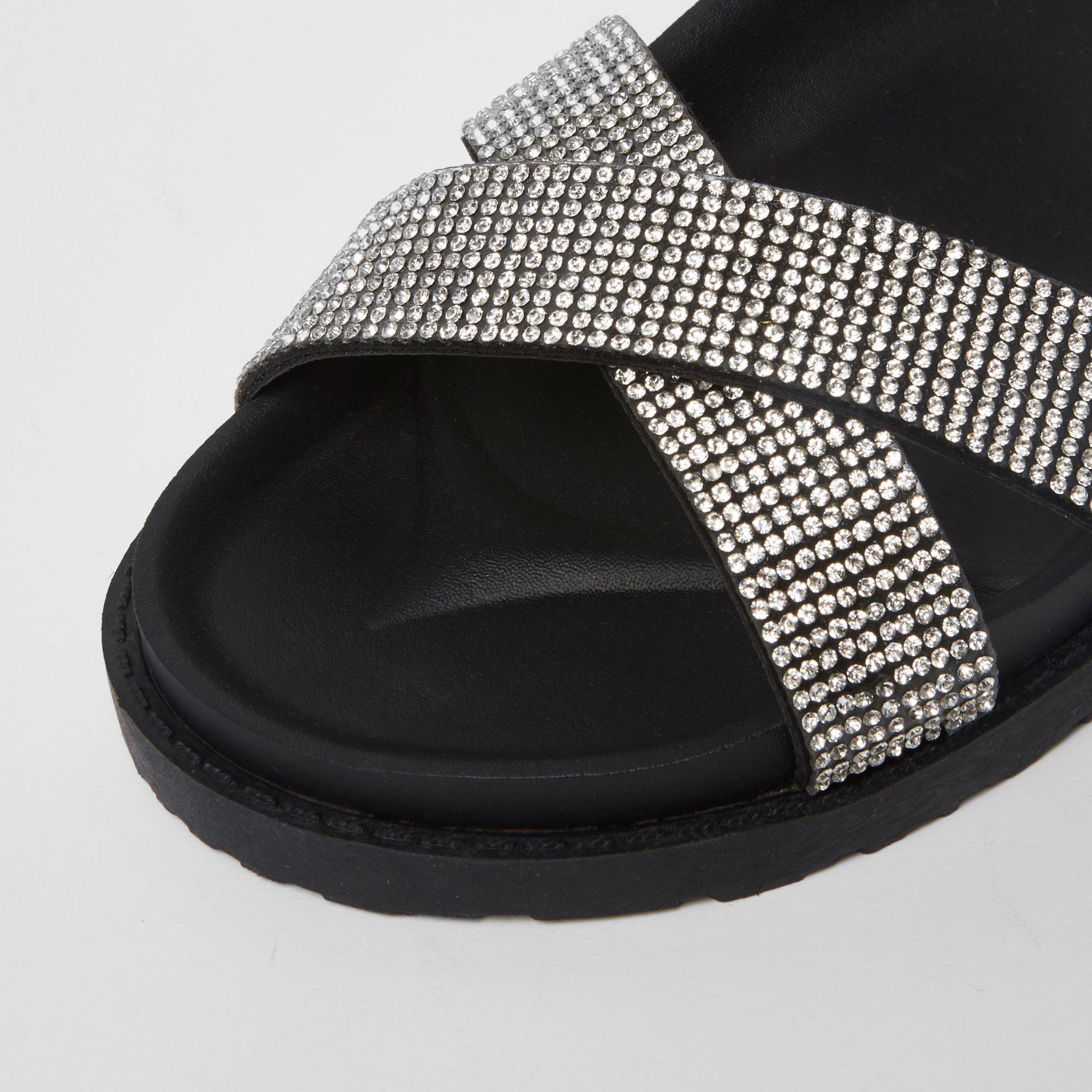 1ddff807fe20 Lyst - River Island Black Wide Fit Diamante Cross Strap Sliders in Black