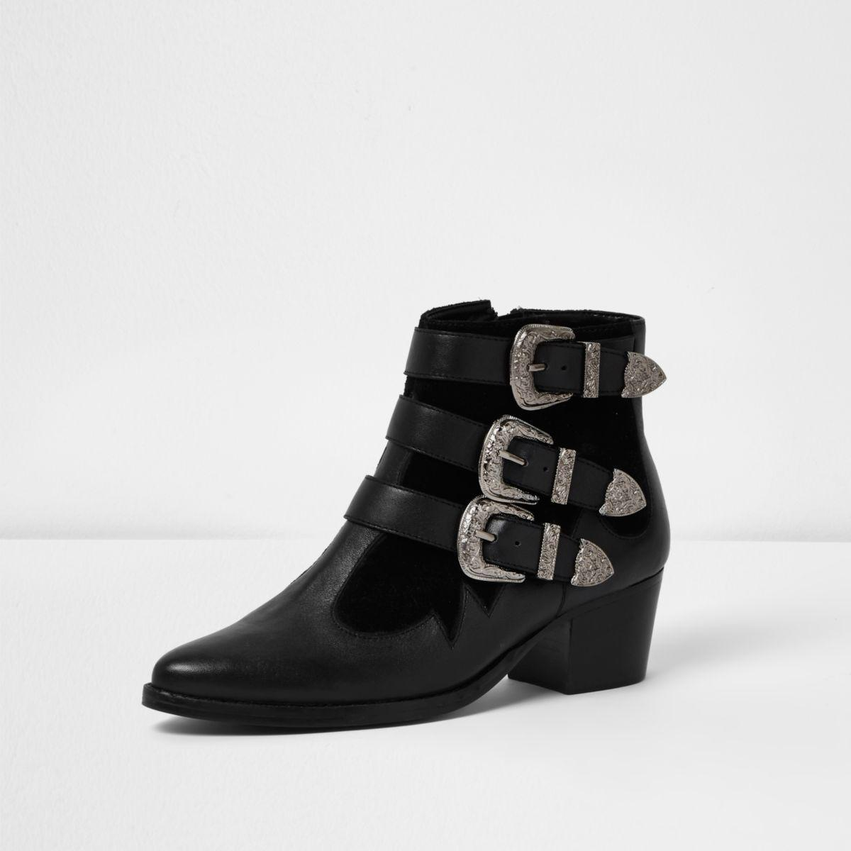 Black Strap Ankle Boots River Island