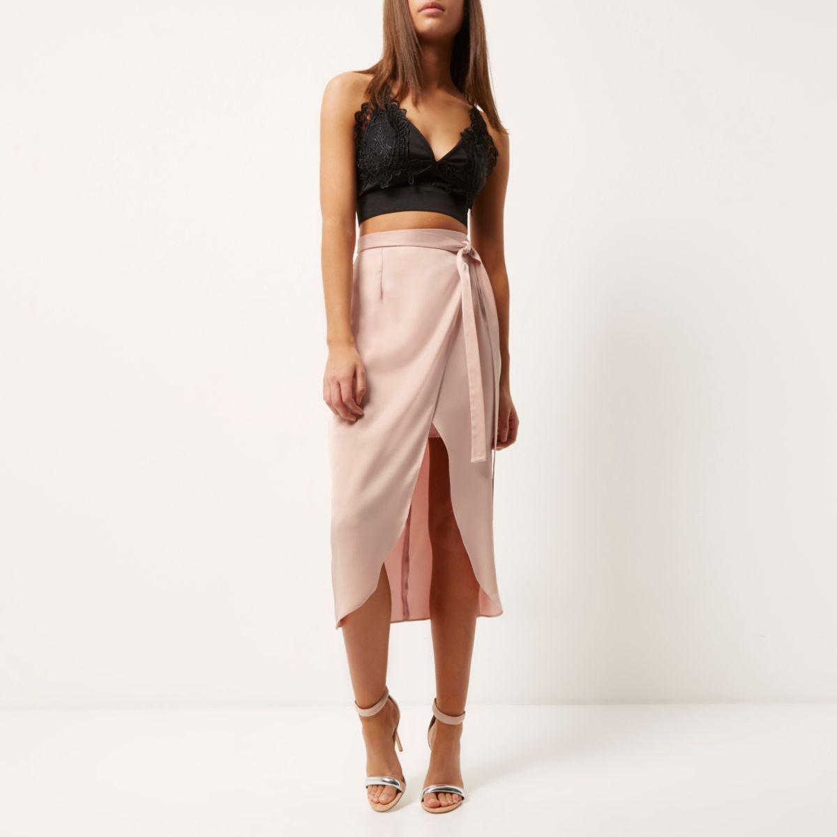 aliexpress 2019 best sell differently River Island Light Pink Satin Wrap Midi Skirt - Lyst