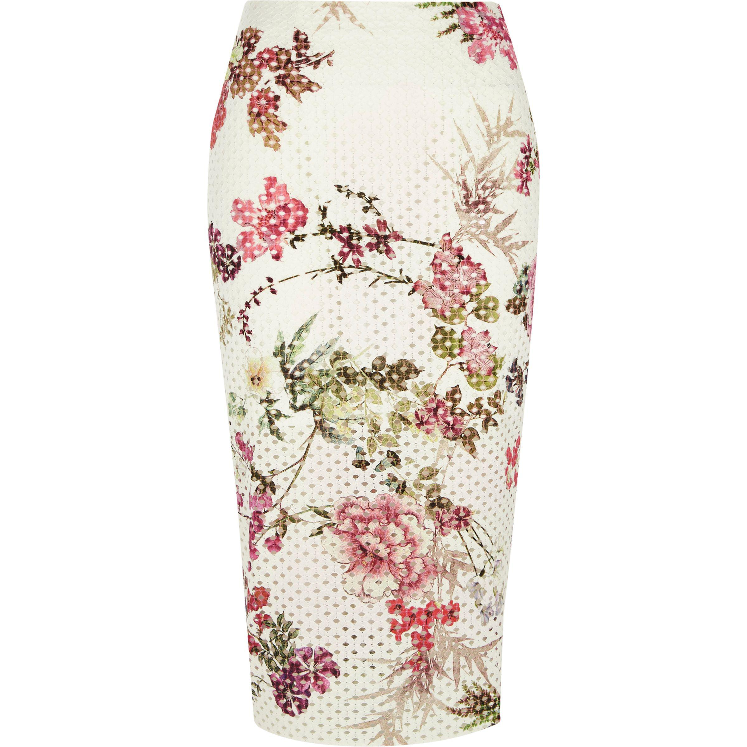 a0d55d80ed River Island White Floral Laser Cut Midi Pencil Skirt in White - Lyst