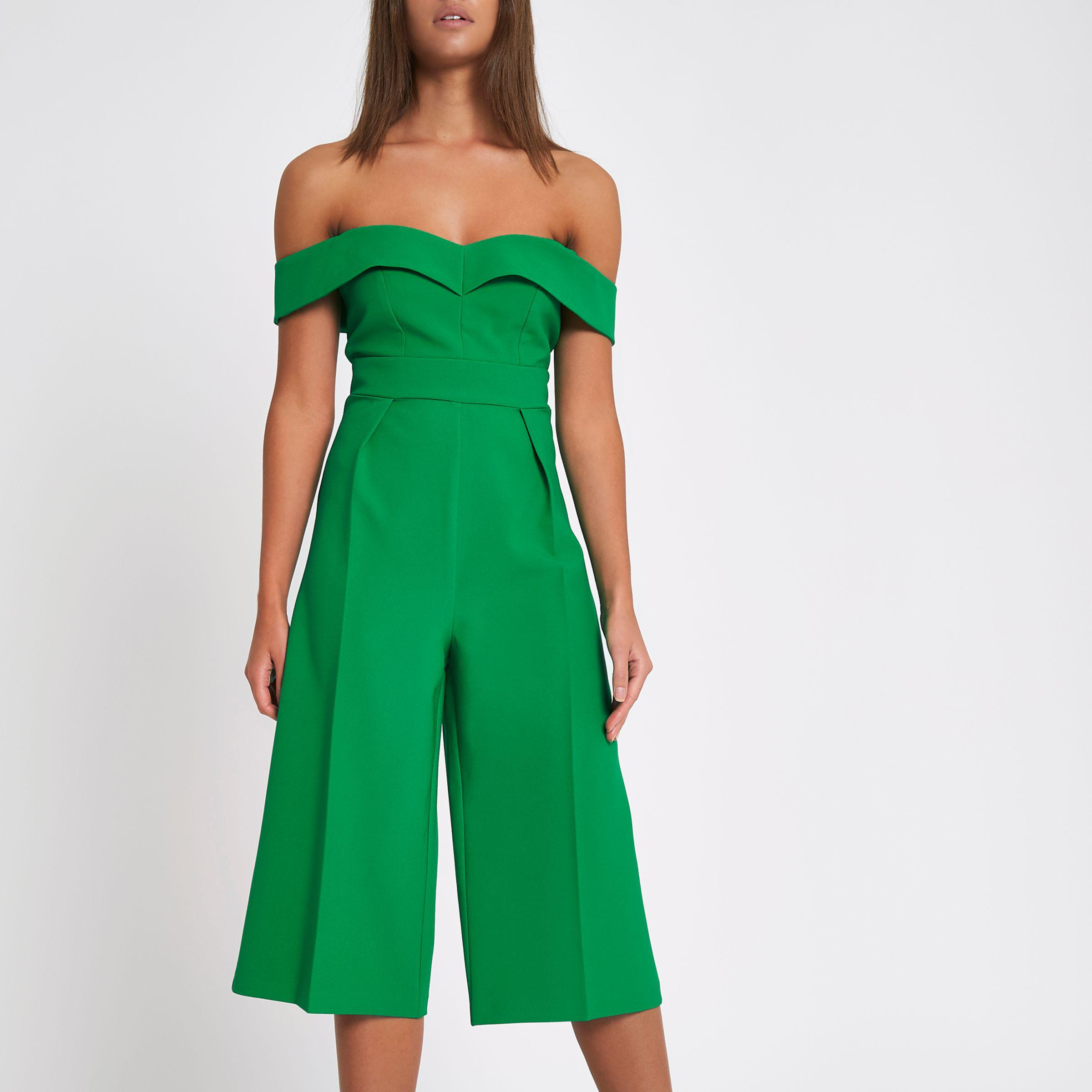 65c8ea4b5f6 Lyst - River Island Green Bardot Culotte Jumpsuit in Green