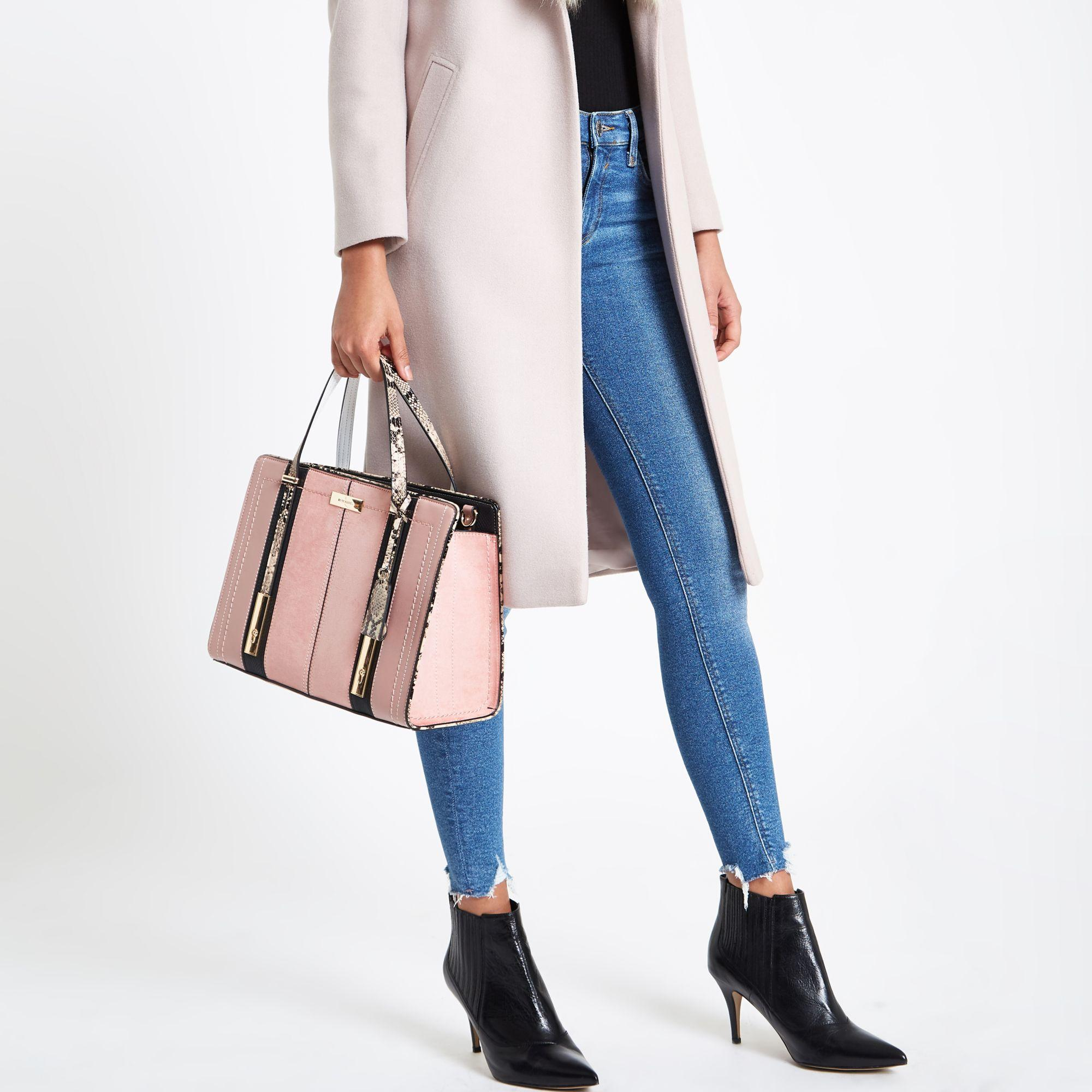 50144dce71f01 ... Light Pink Contrast Snake Panel Tote Bag - Lyst. View fullscreen
