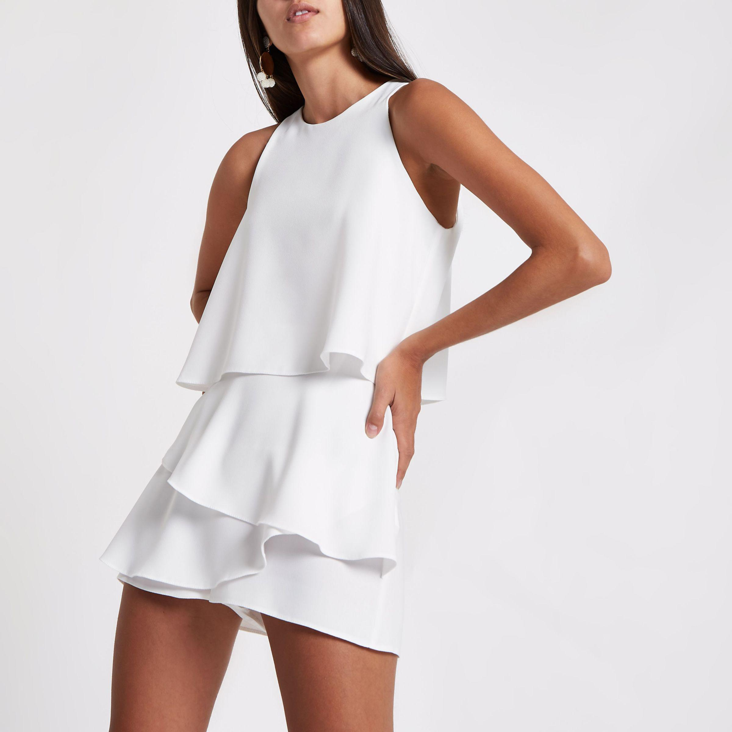 47d4b63bc46 River Island Frill Tiered Cami Playsuit in White - Lyst