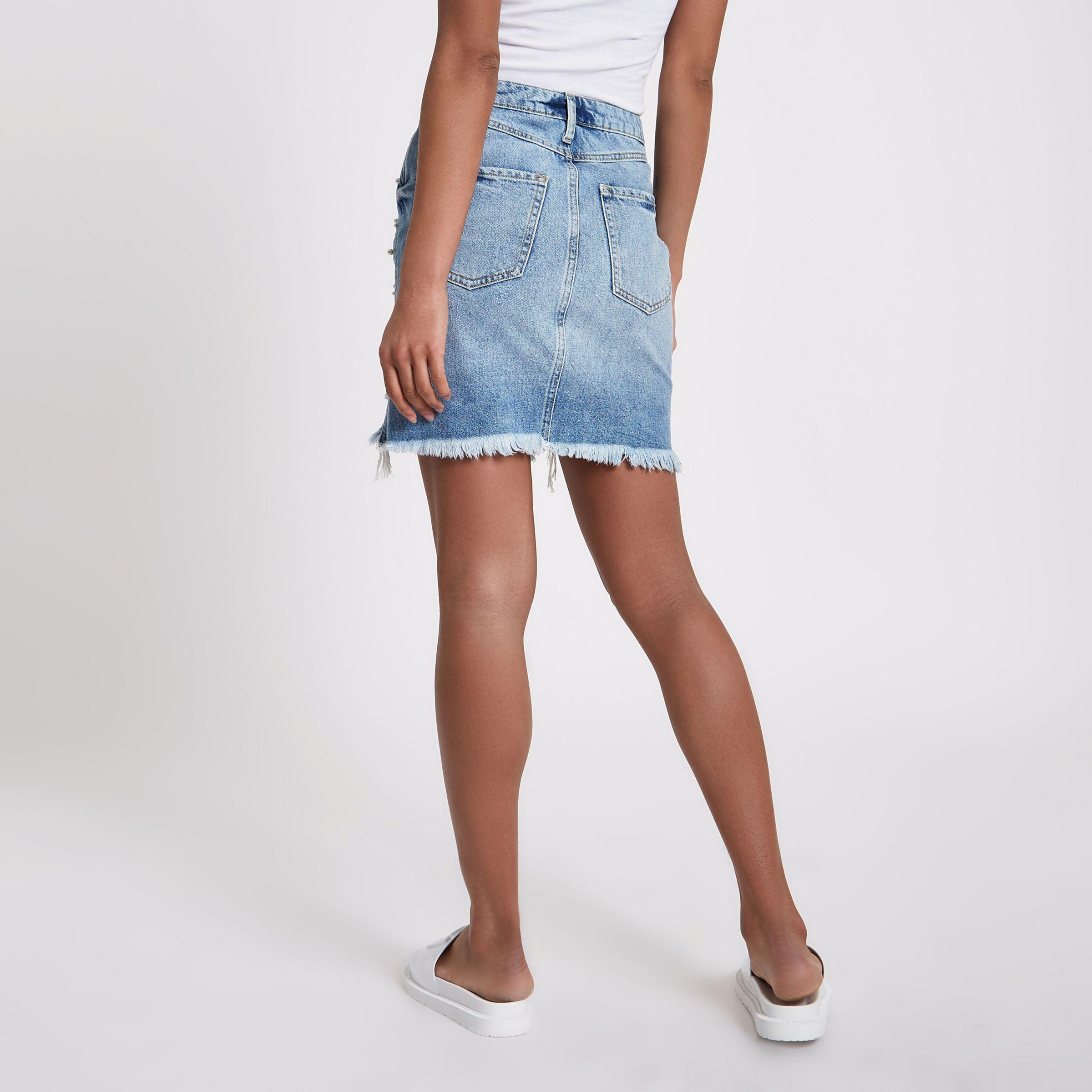 aaa58fcbd7d2b4 River Island Mid Blue Faux Pearl Ripped Denim Mini Skirt in Blue - Lyst