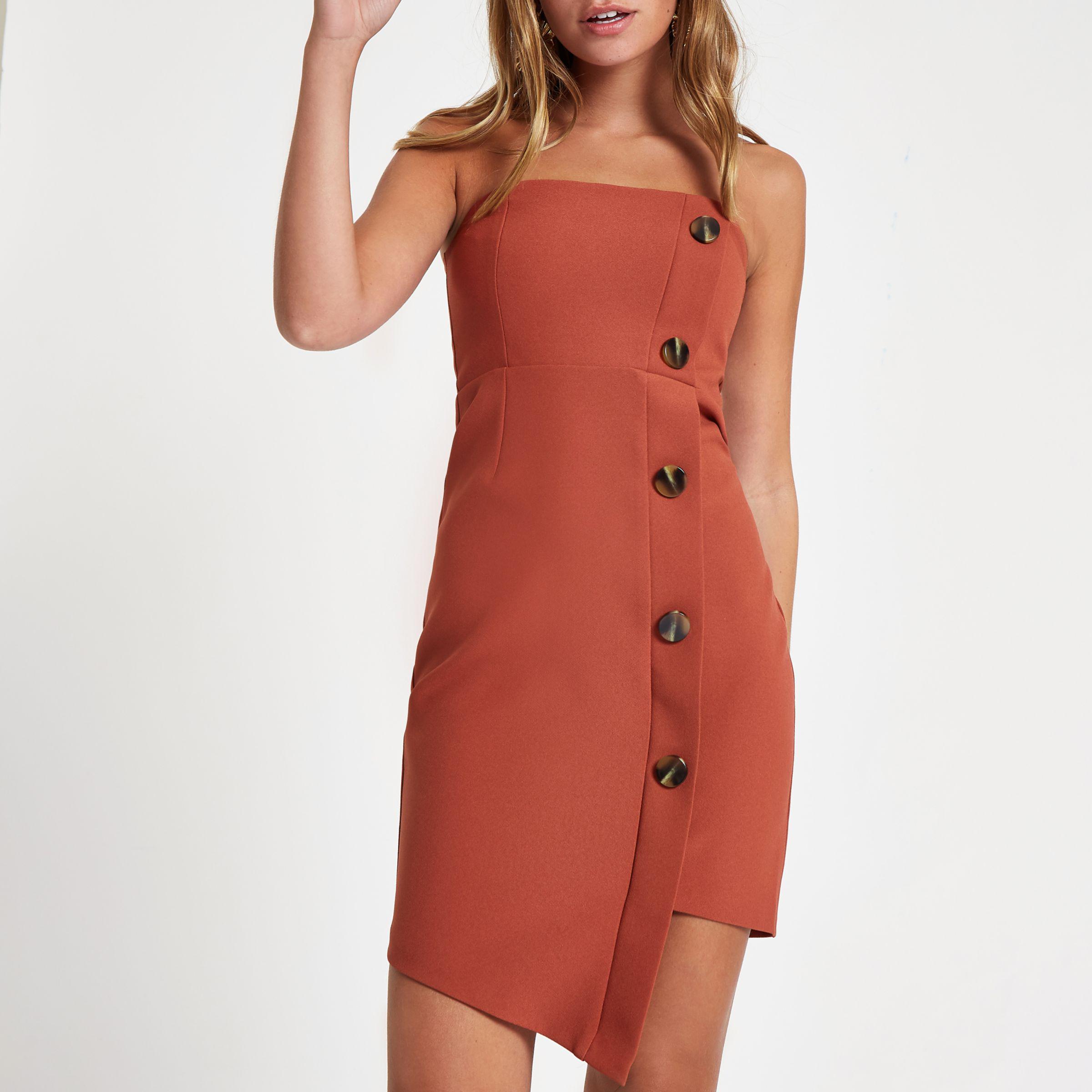 19d4d26424fd5 Lyst - River Island Petite Rust Button Bandeau Mini Dress in Brown