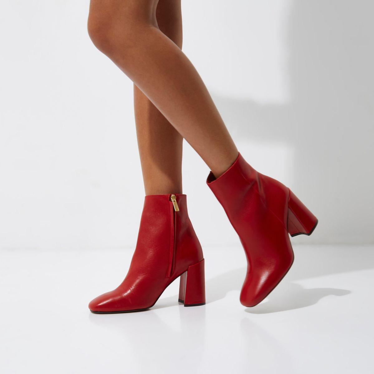 Red Patent Shoes Block Heel