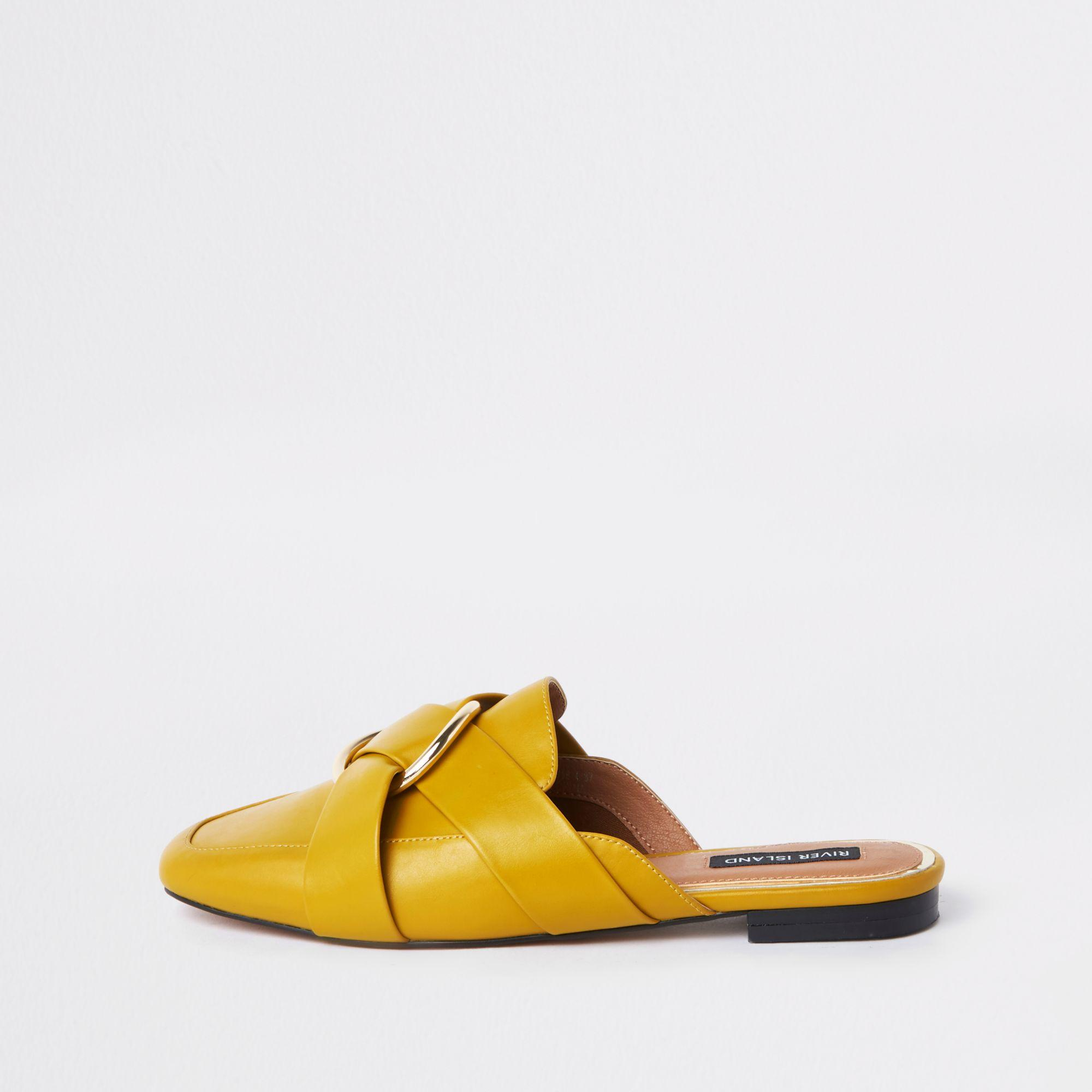 bf58eff78e9 River Island Ring Backless Loafer in Yellow - Save 11% - Lyst