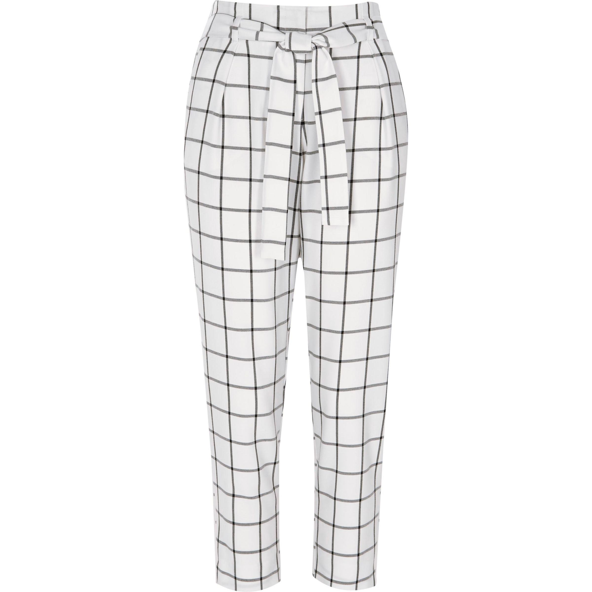 19645905f446fd River Island White Check Tie Waist Tapered Trousers in White - Lyst