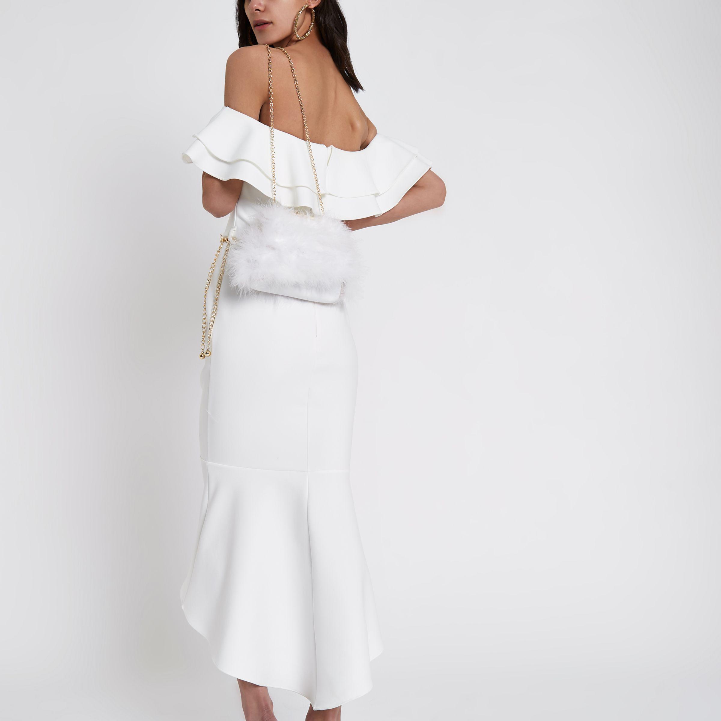 8d5f6418e3 River Island Cream Lace Fishtail Bardot Bodycon Dress in White - Lyst