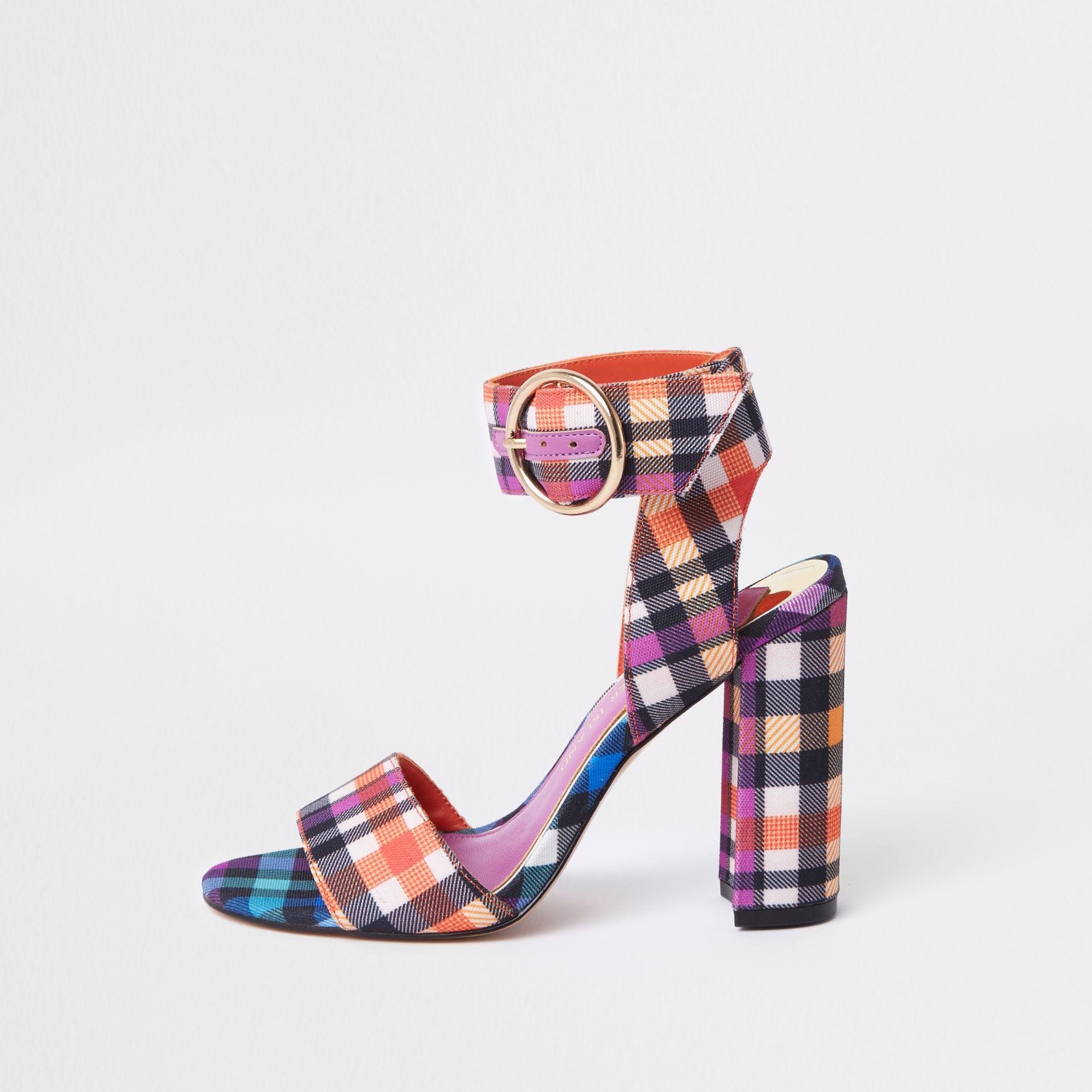 2f941745184d Lyst - River Island Check Print Block Heel Sandals in Purple