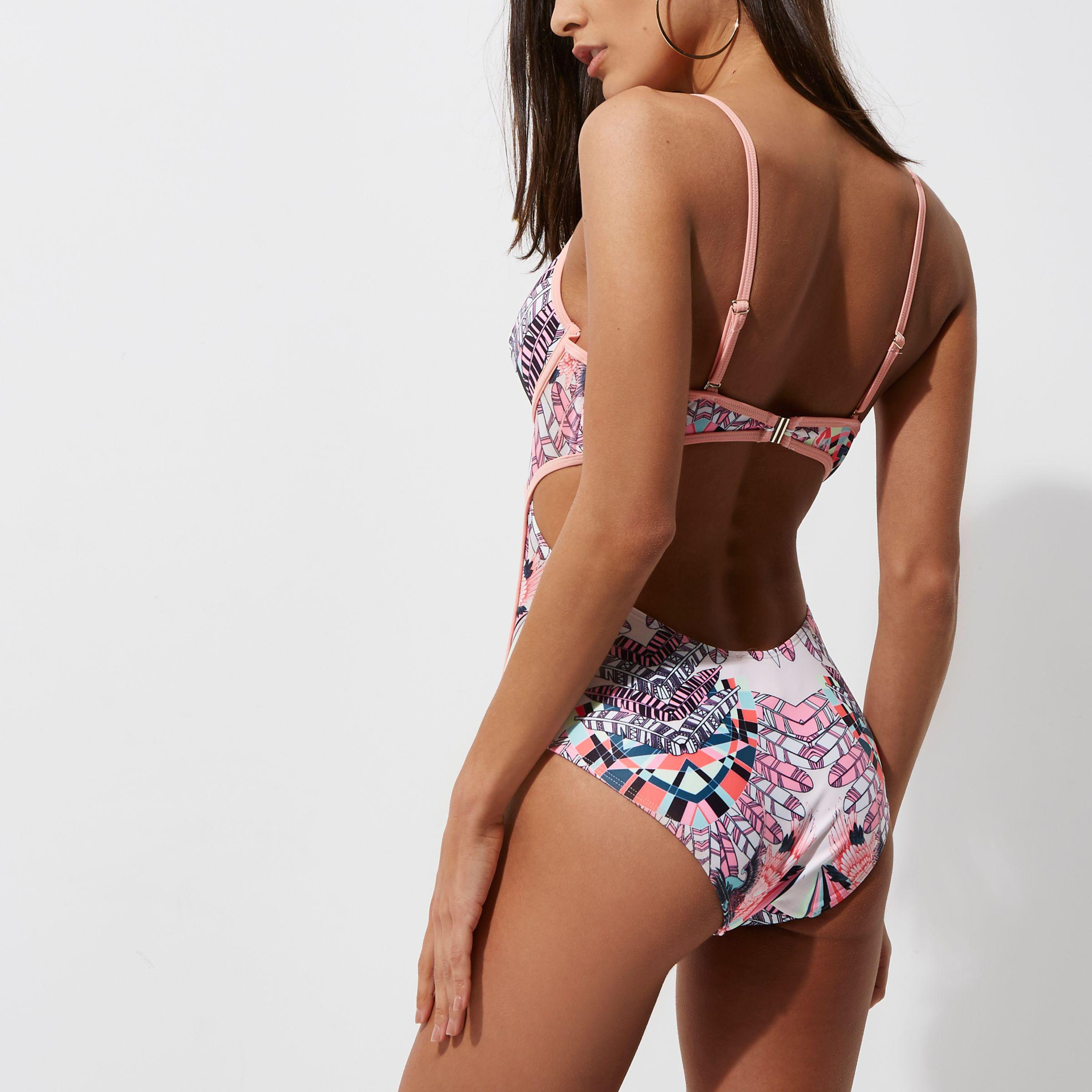 59f7bce6a28a River Island Pink Feather Print Cut Out Plunge Swimsuit in Pink - Lyst