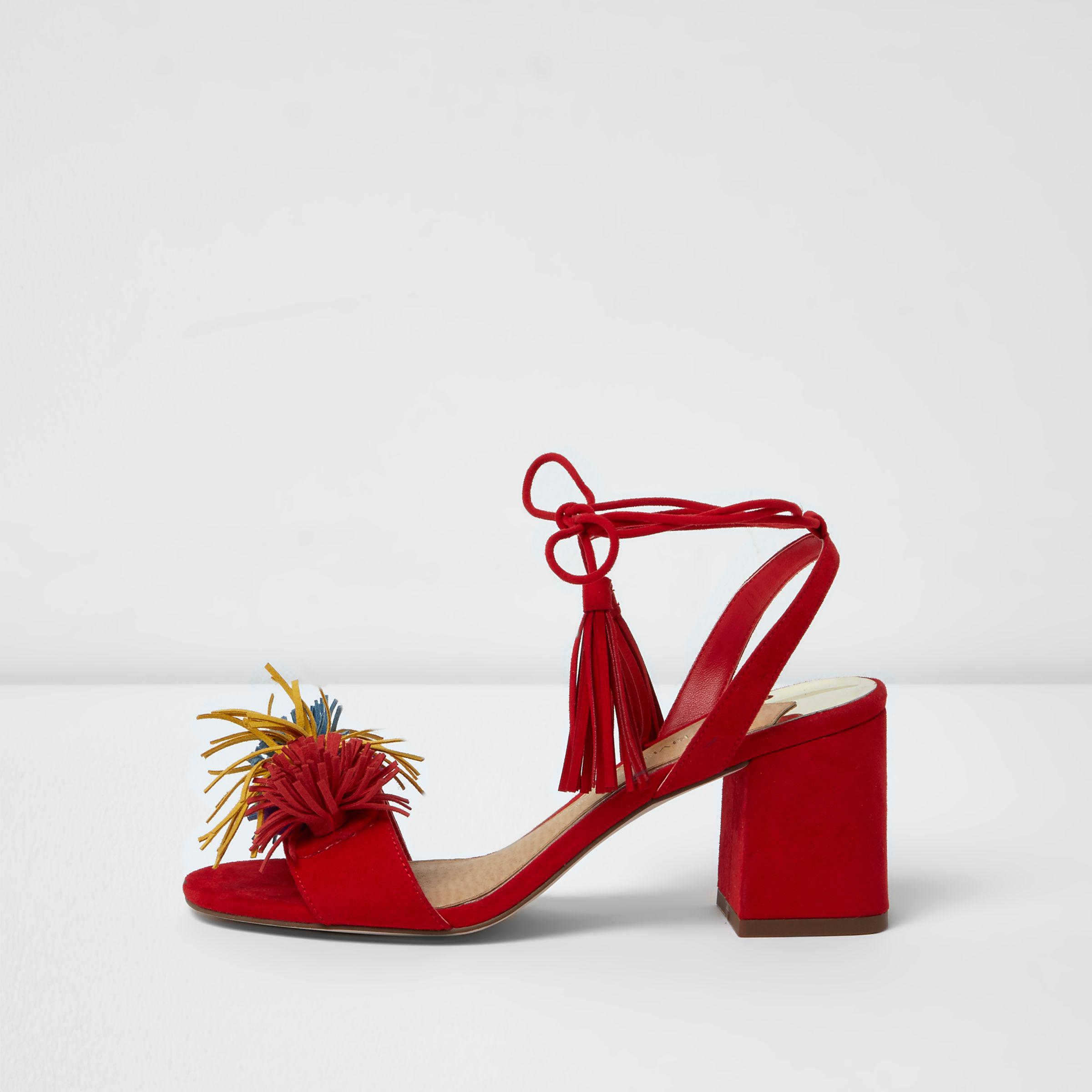 16f43c55af9 Lyst - River Island Red Pom Pom Block Heel Sandals in Red