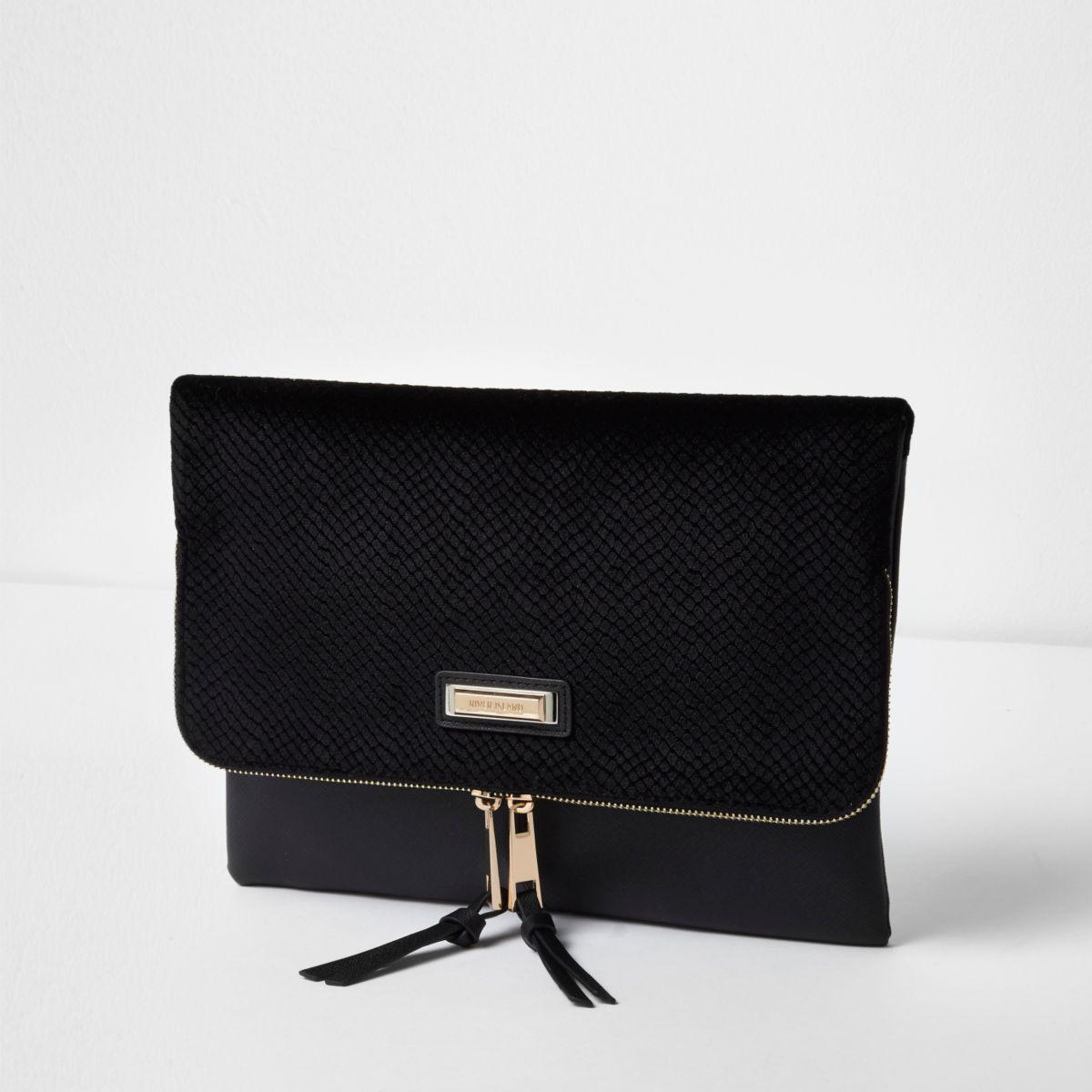 0eedbb346a3d Lyst - River Island Black Velvet Zip Around Envelope Clutch Bag in Black