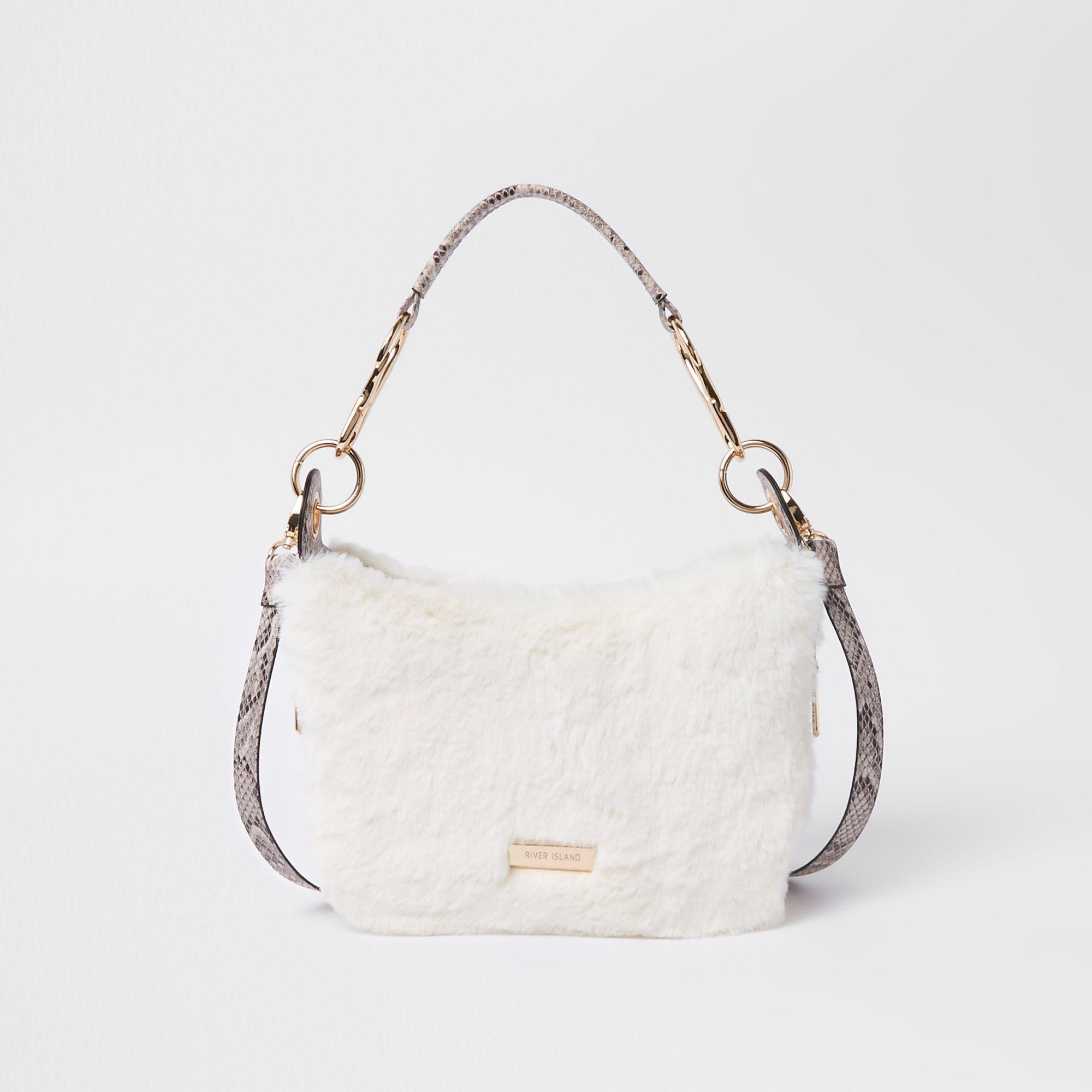 bbe84220d9 Lyst - River Island Cream Zip Faux Fur Scoop Cross Body Bag in Natural