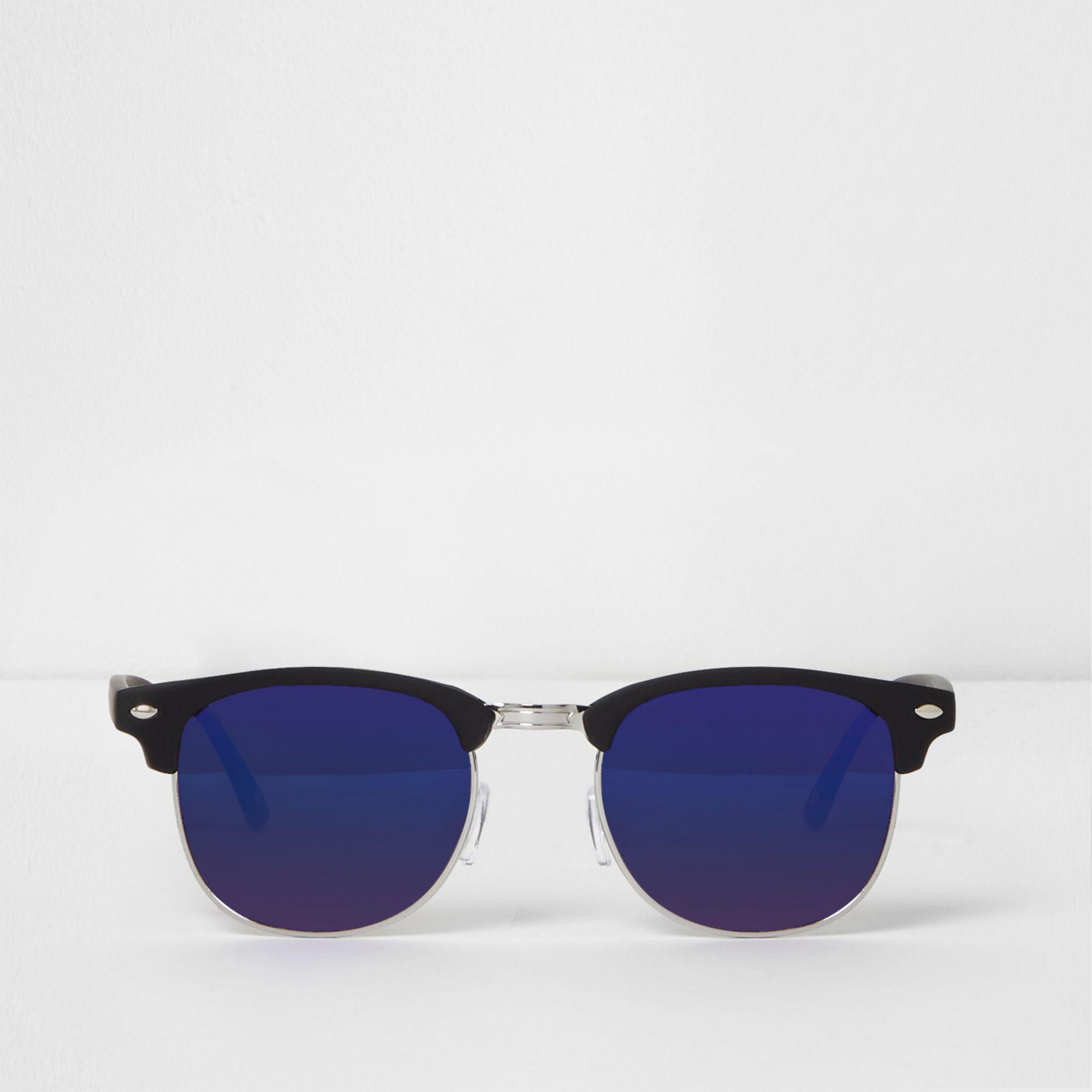 998b176187a River Island Black Half Frame Retro Blue Mirror Sunglasses in Black ...