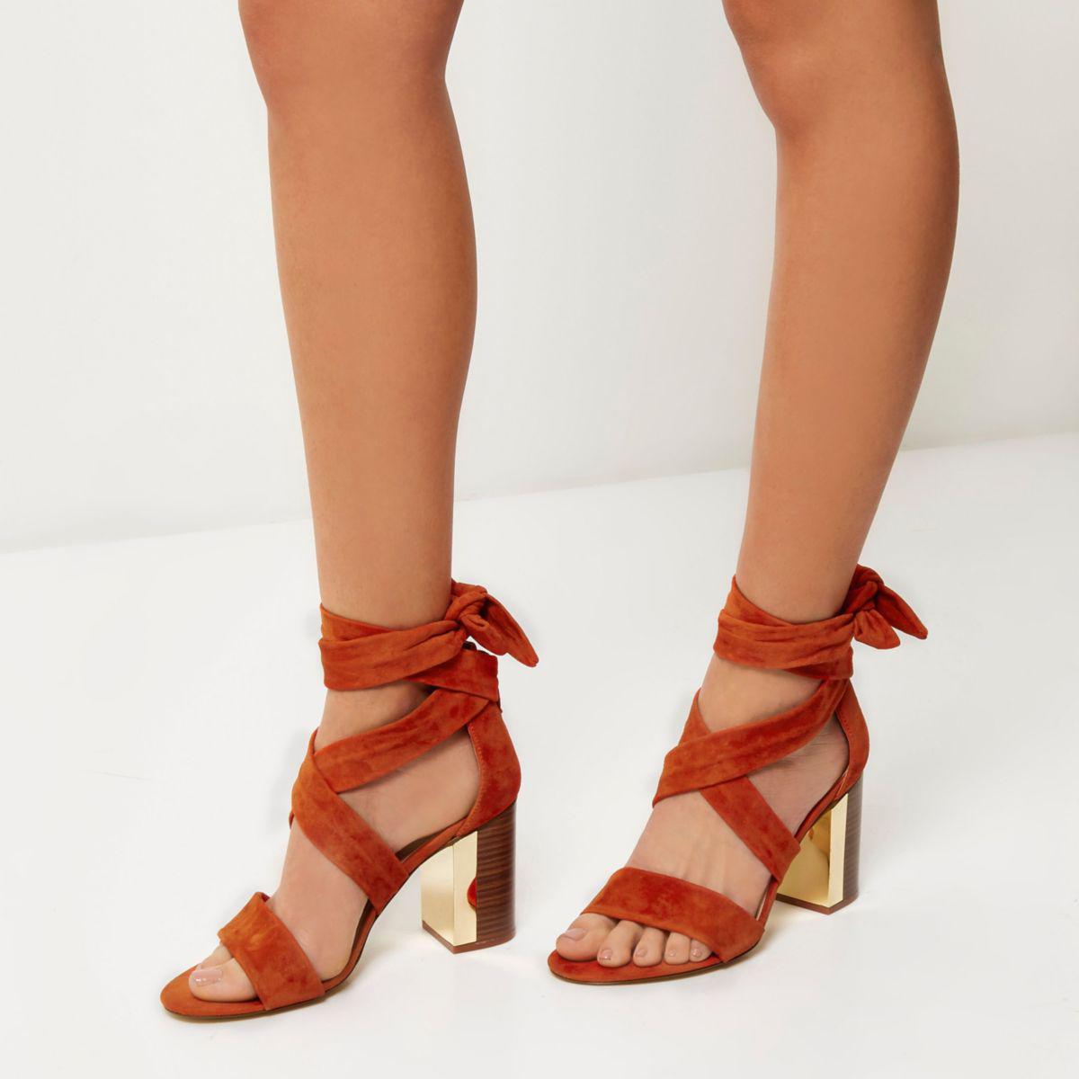 965083626d70 Lyst - River Island Dark Orange Suede Tie-up Block Heel Sandals in Red