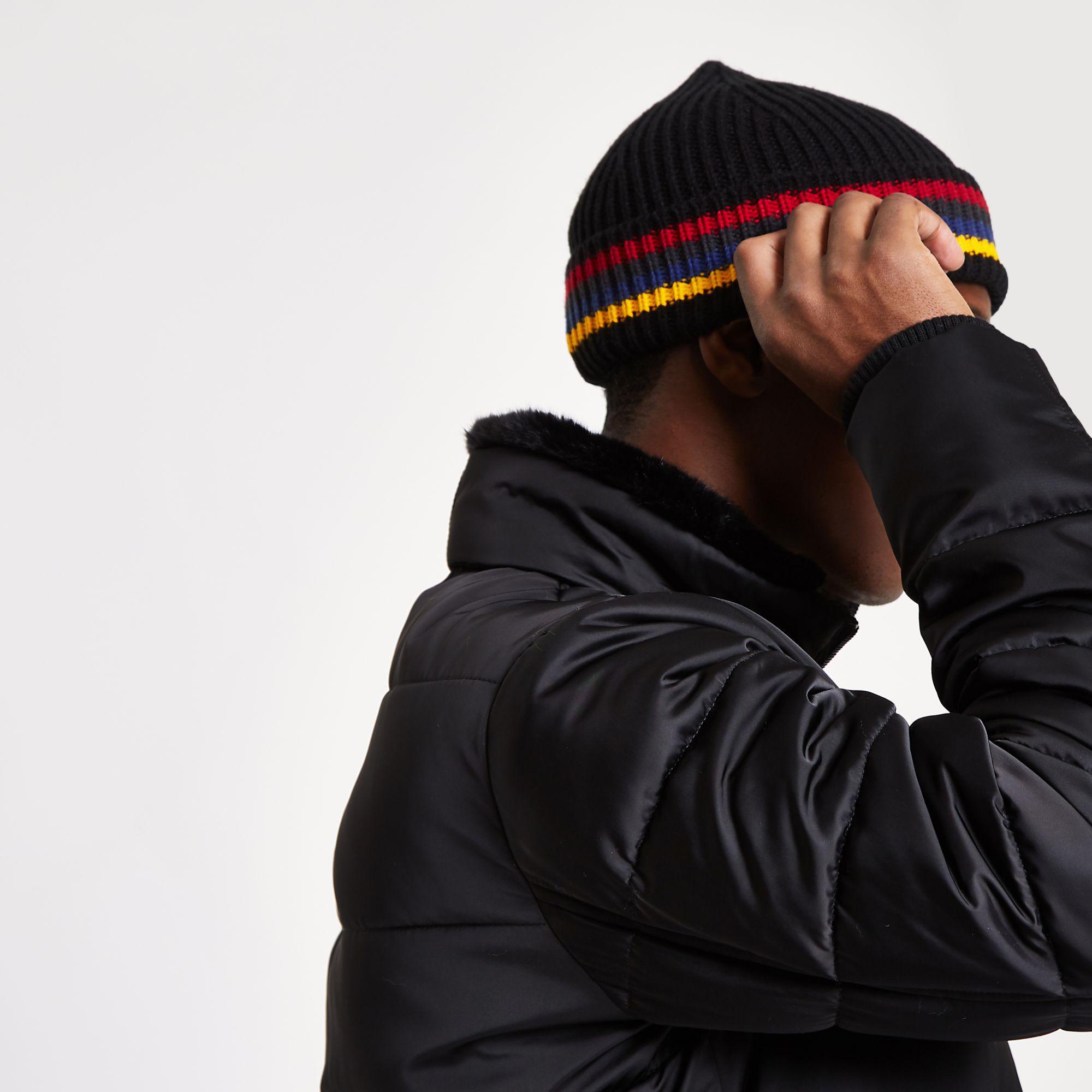 fa1fe69cf56 River Island - Black Stripe Fisherman Knit Beanie Hat for Men - Lyst. View  fullscreen