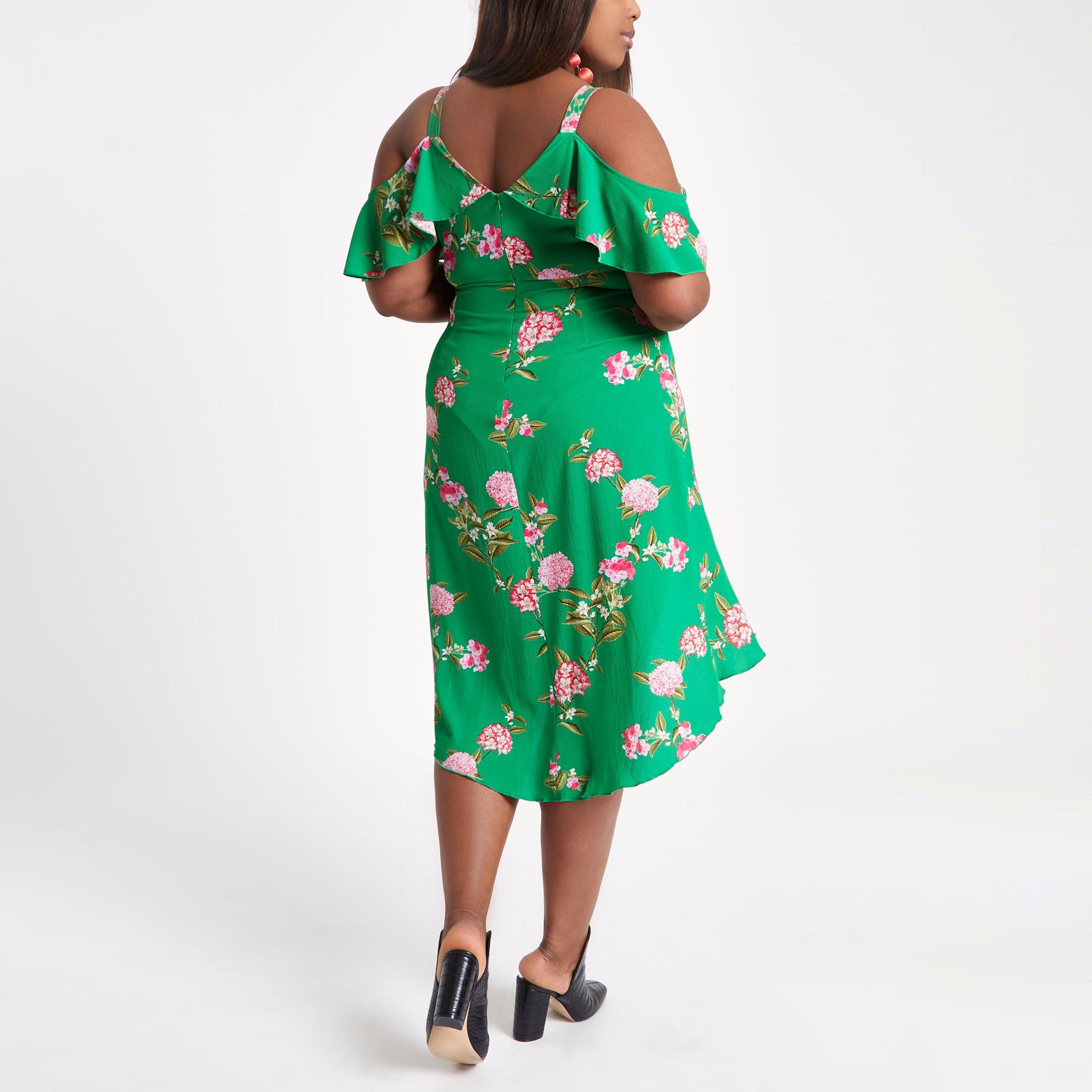 c83f987adf2 Lyst - River Island Plus Floral Cold Shoulder Midi Dress in Green