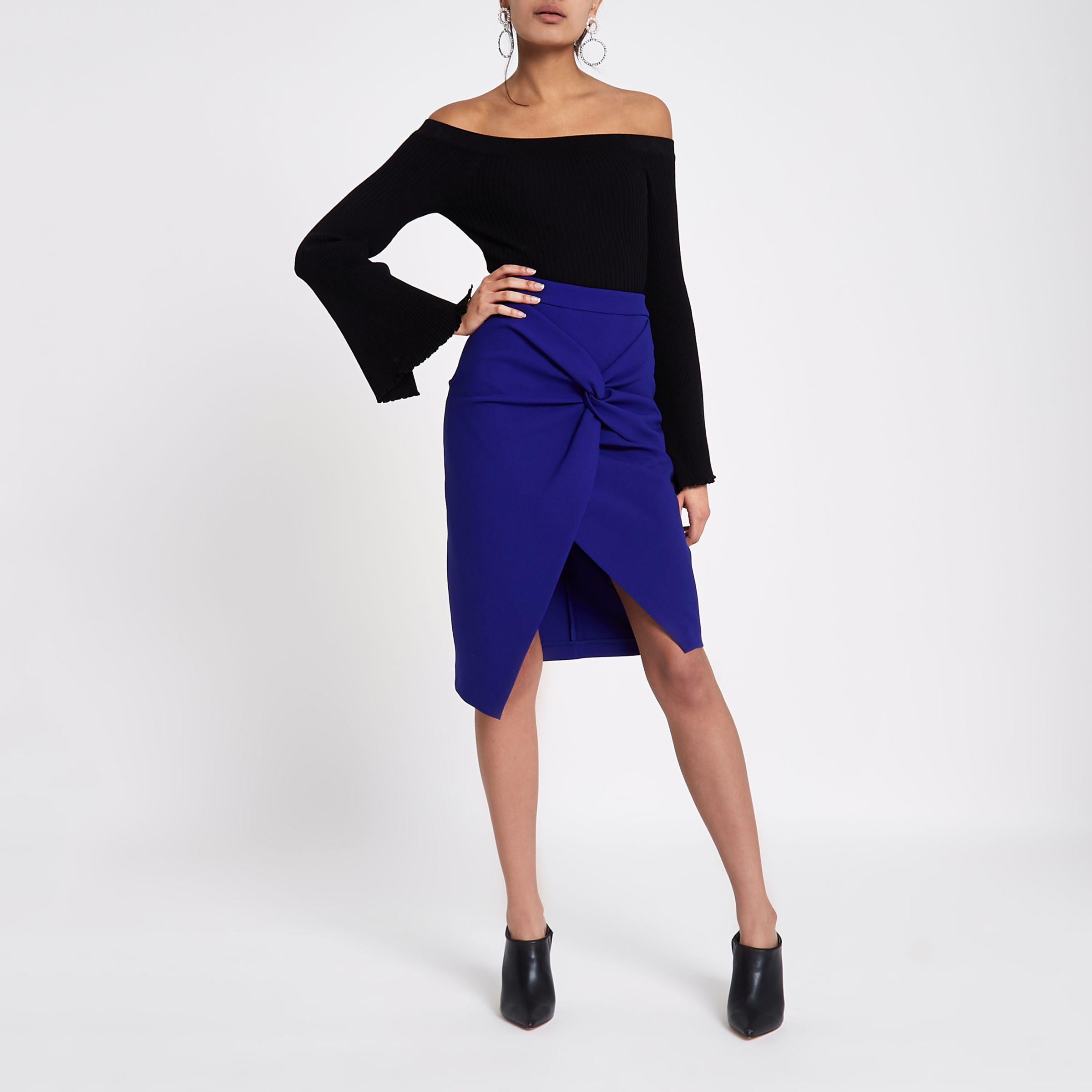b276e3564 River Island Blue Twist Front Pencil Skirt in Blue - Lyst