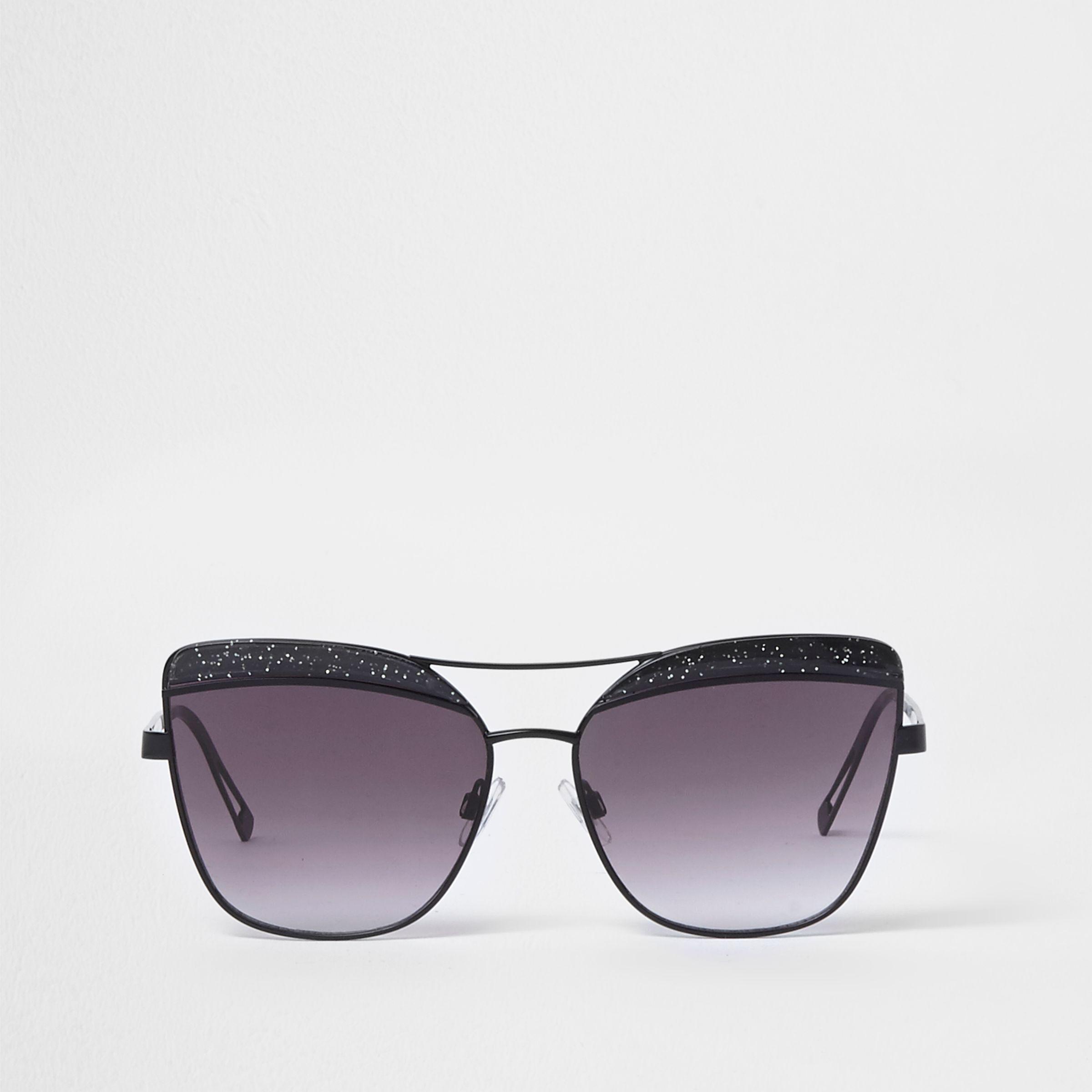 34f0dac0e74 Lyst - River Island Black Glitter Cat Eye Smoke Lens Sunglasses in Black