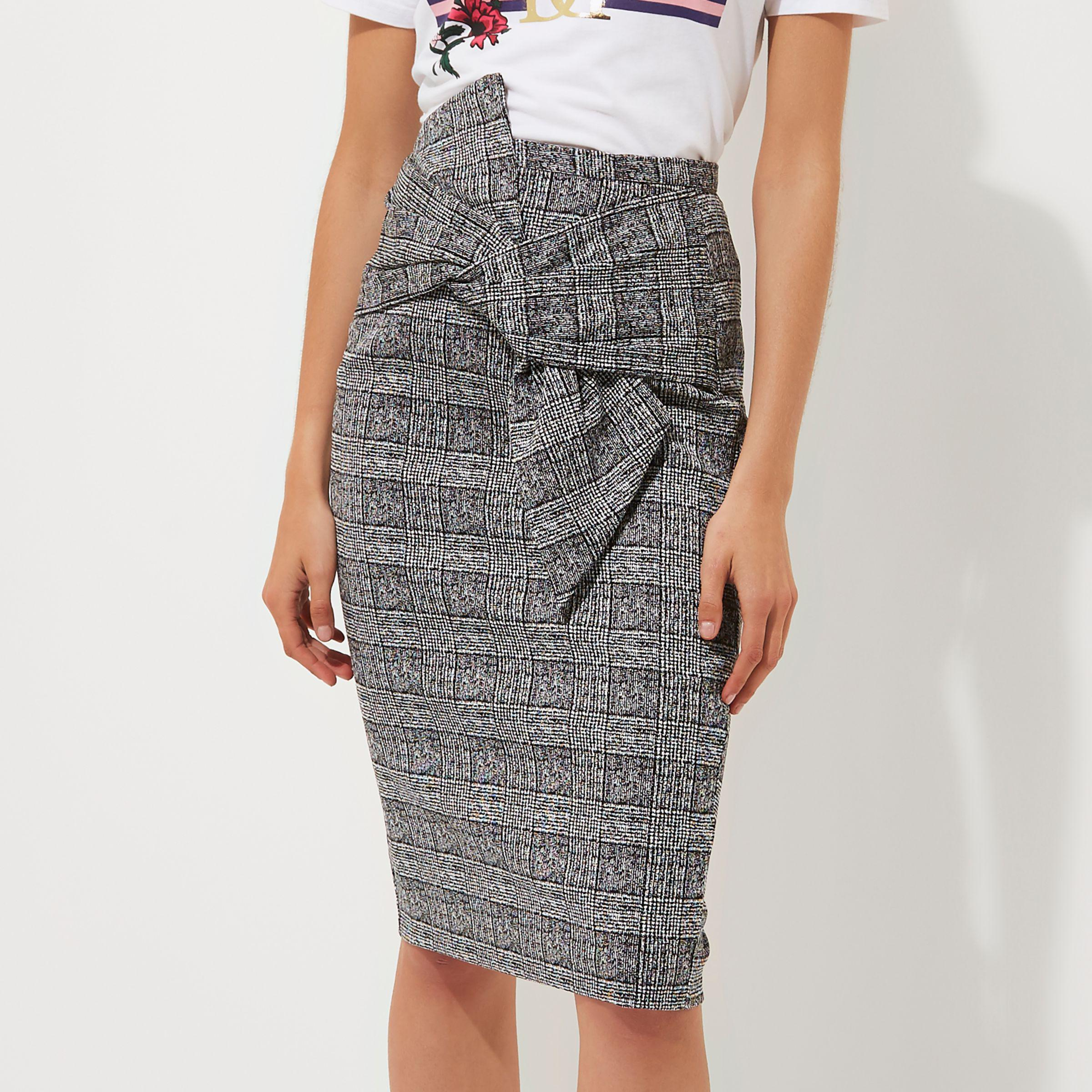 Lyst - River Island Black Check Bow Front Pencil Skirt in Black f0cf4a15e3b