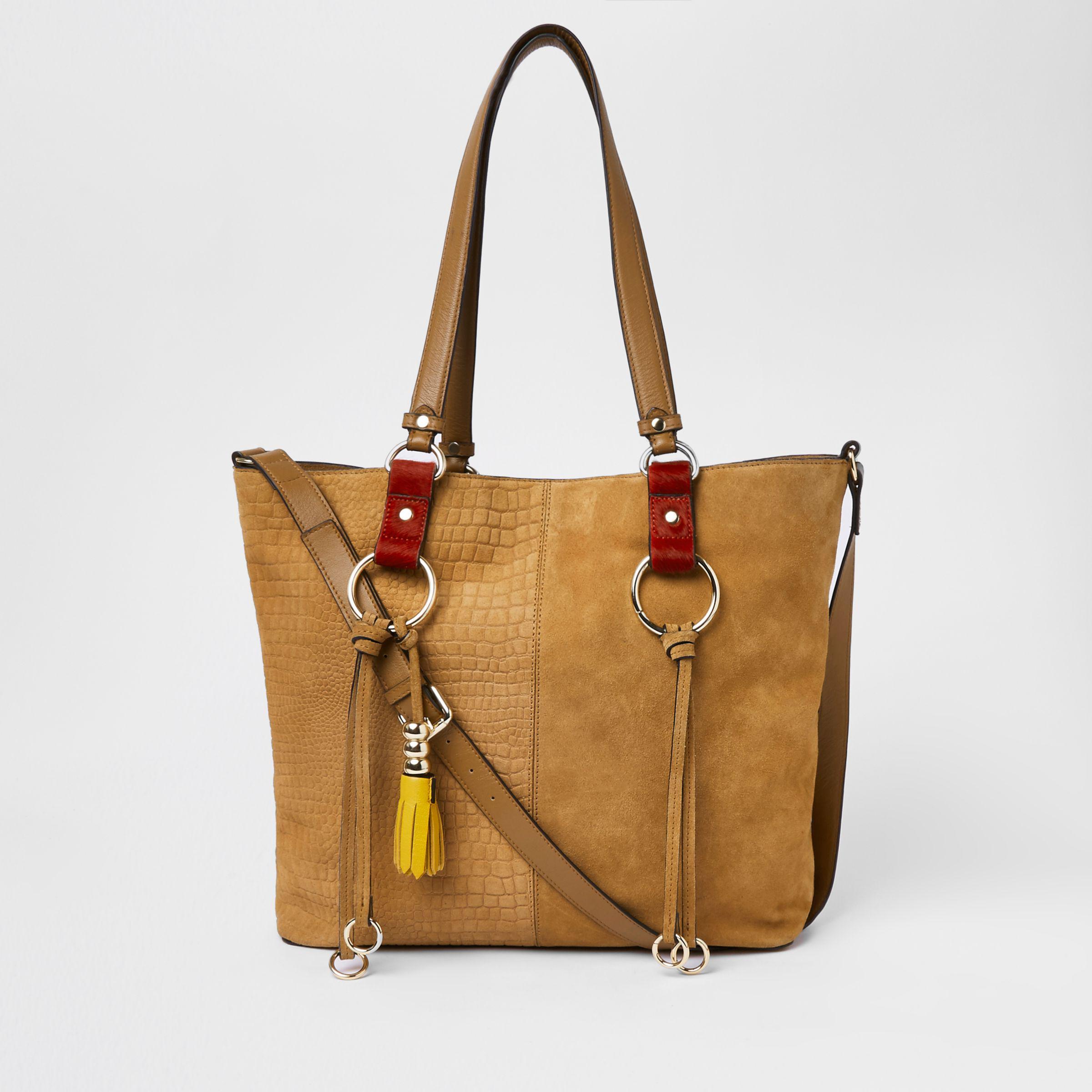 589ec8a51407 River Island Beige Suede Hoop Detail Shopper Bag in Natural - Lyst