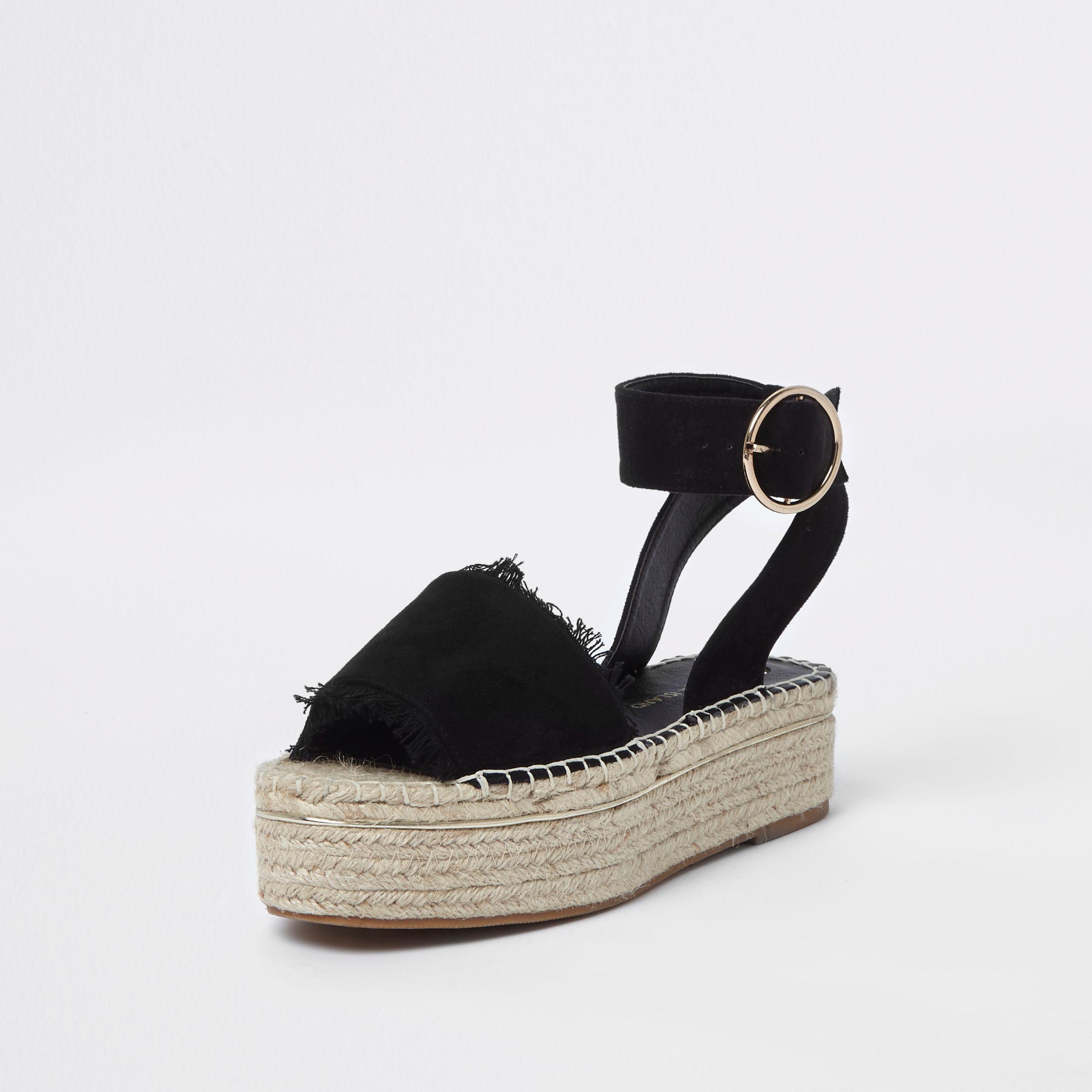 19b32cb1dd102 Lyst - River Island Black Espadrille Platform Sandals in Black