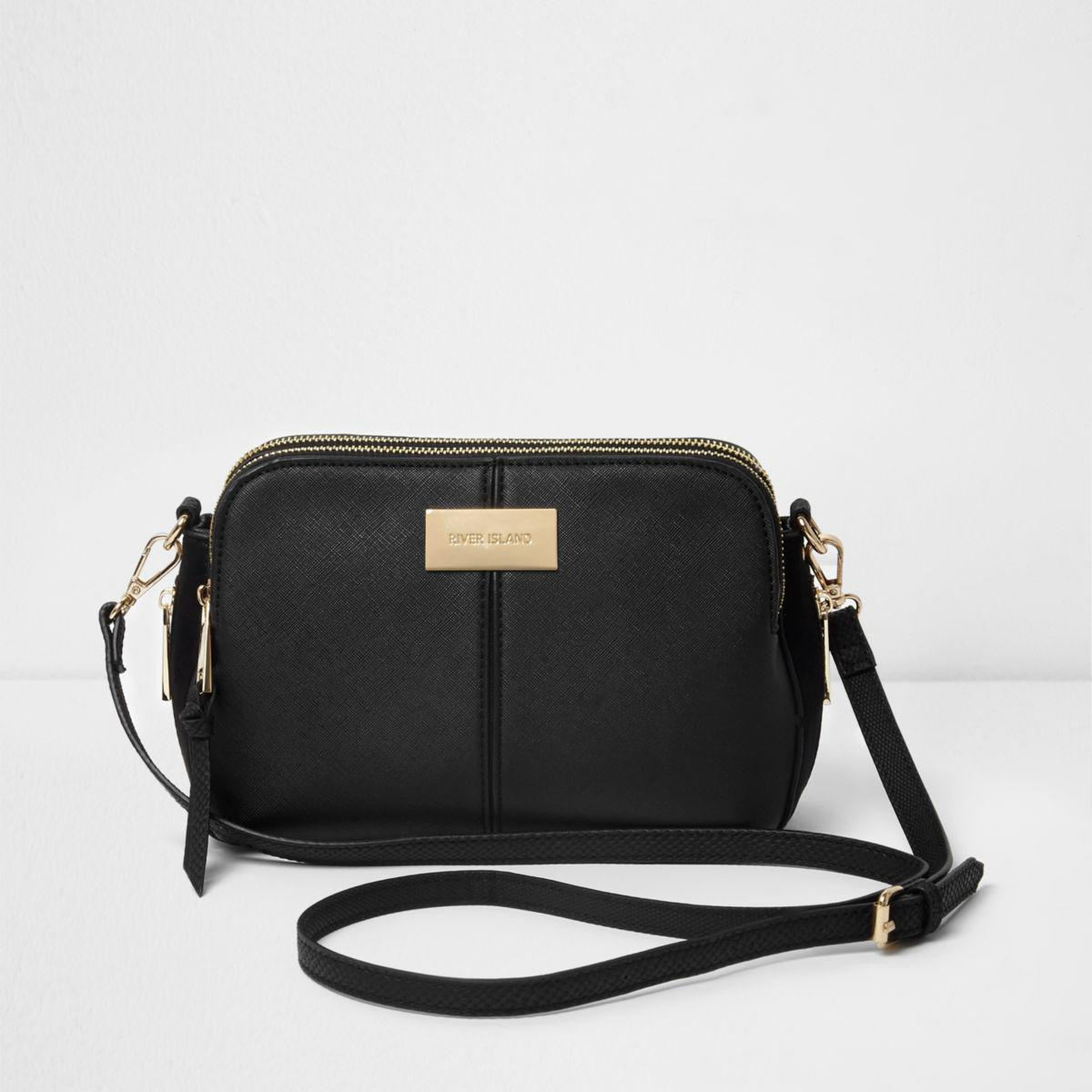 83c8e6f76478a1 River Island Black Triple Compartment Cross Body Bag in Black - Lyst