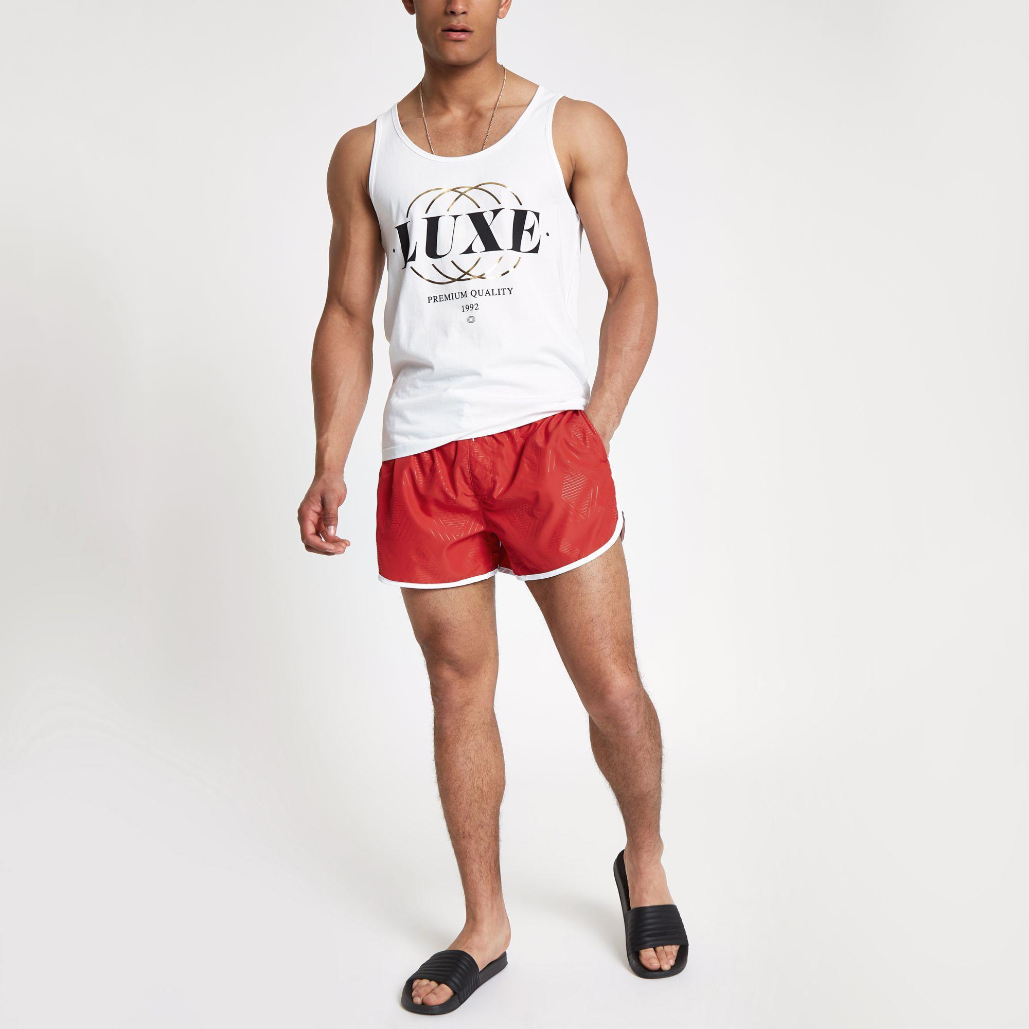 4b1beec2bb River Island Football Bolt Runner Swim Shorts in Red for Men - Lyst