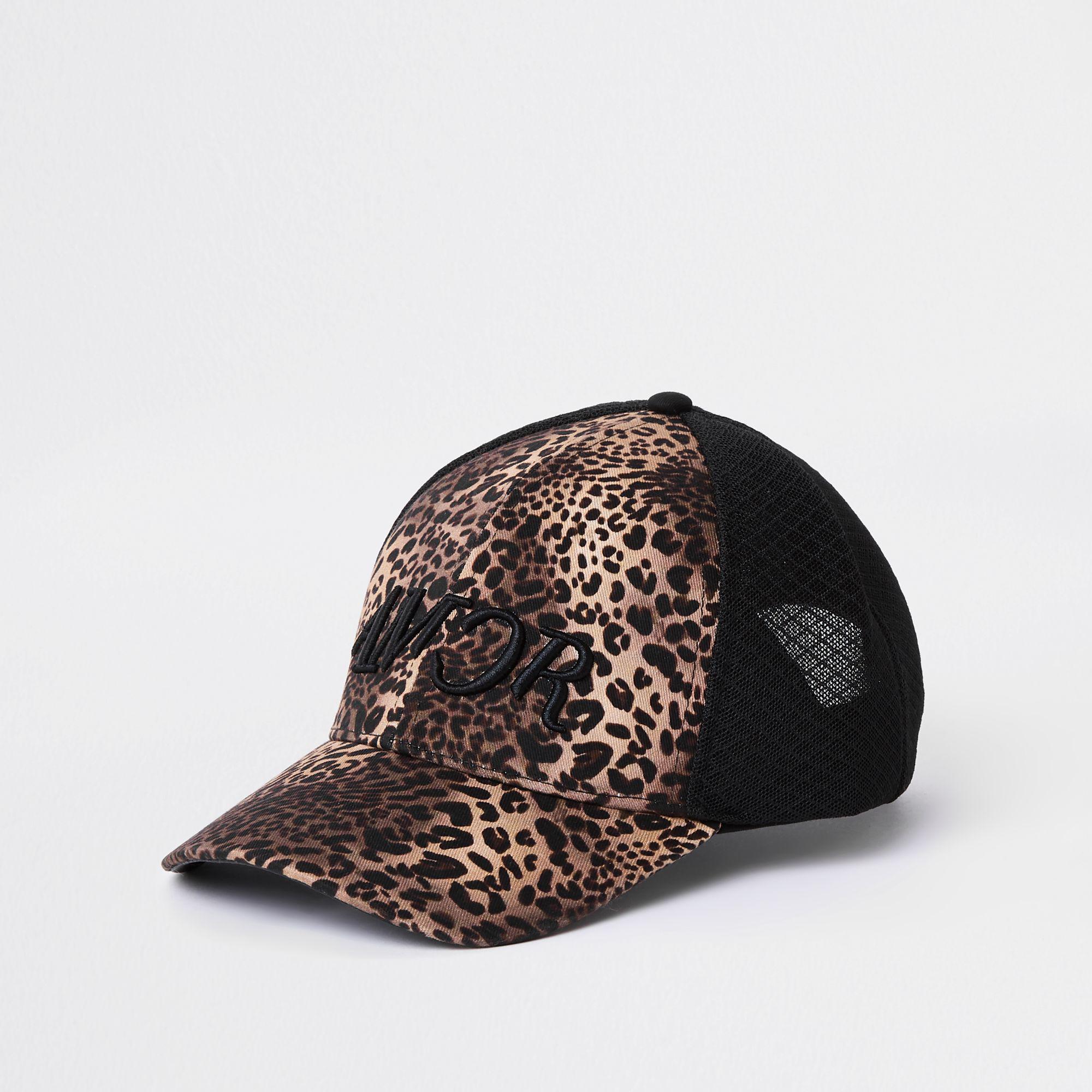 11eaa1c6dc2 River Island Leopard Print Mesh Baseball Cap in Black for Men - Lyst