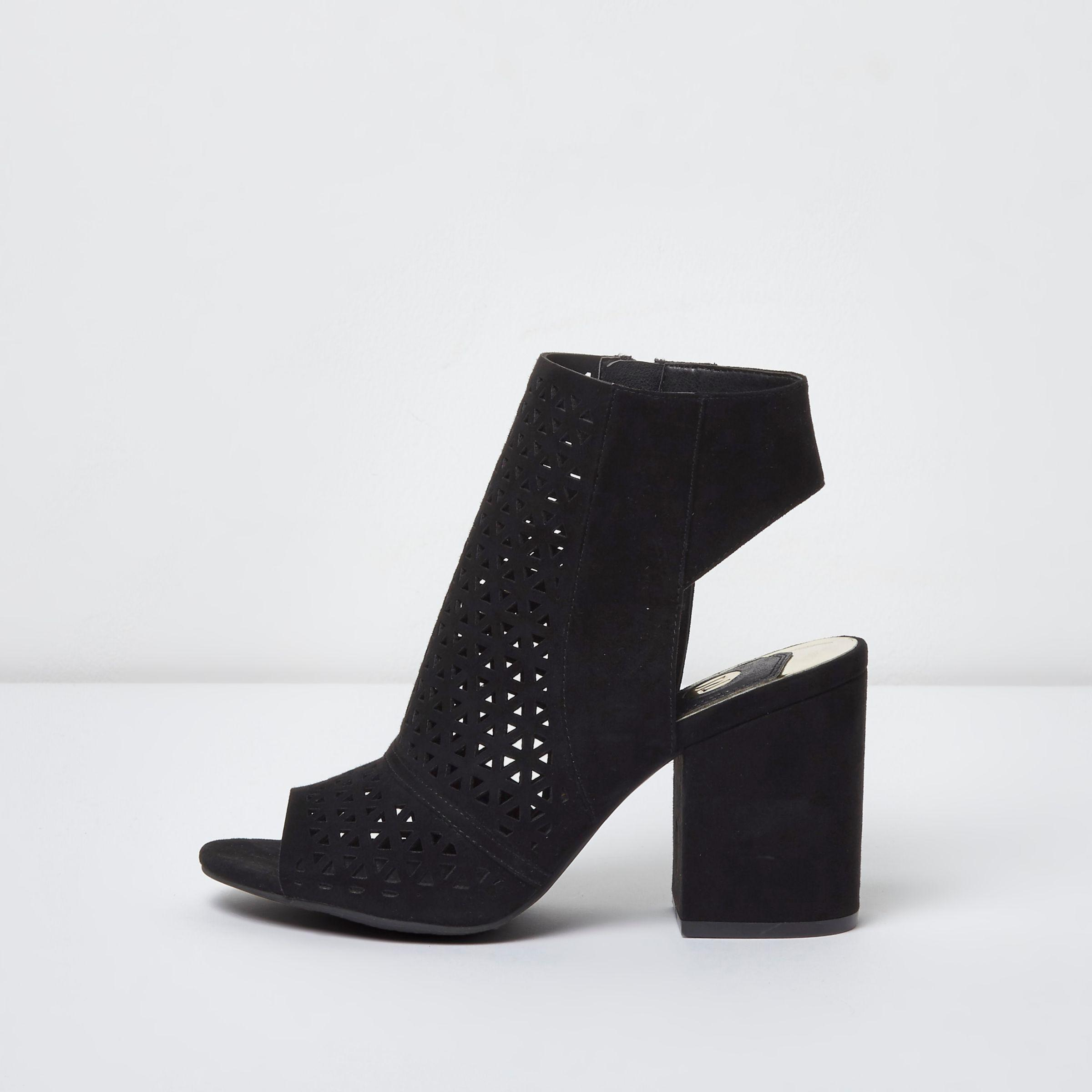 6bab9a556527 River Island Black Laser Cut Peep Toe Shoe Boots in Black - Lyst