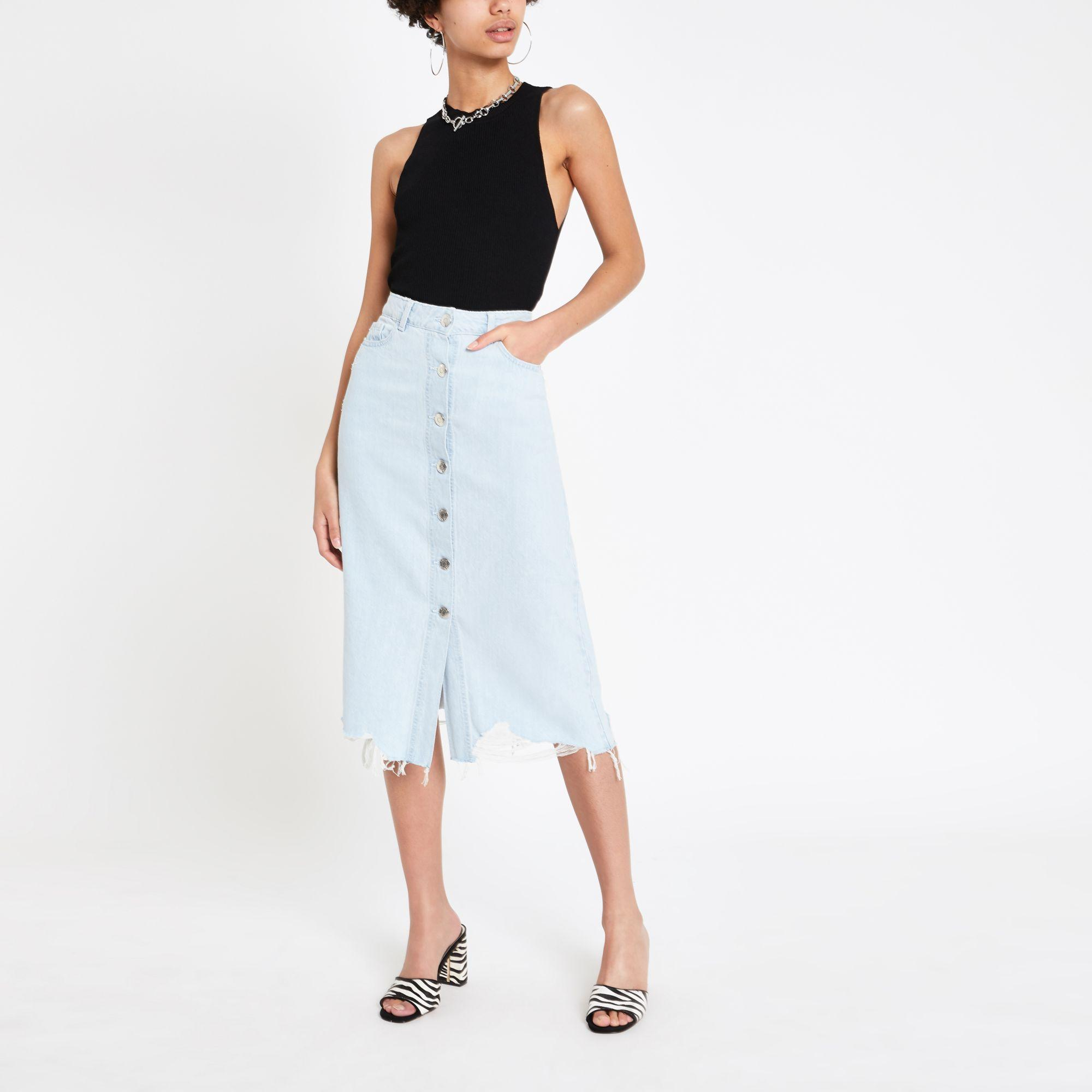 961fd3ec7d River Island - Light Blue Button Front Midi Denim Skirt - Lyst. View  fullscreen