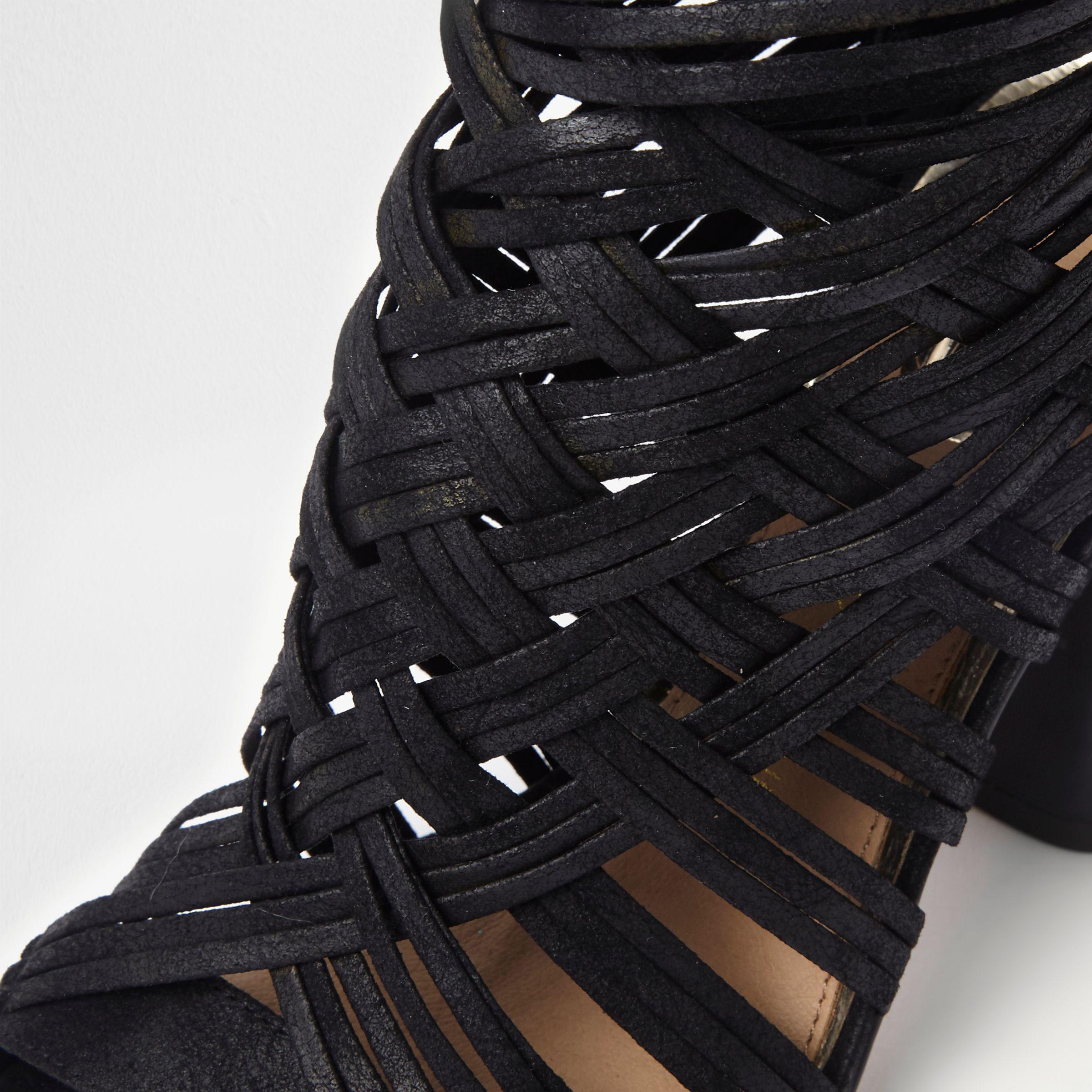 4839df8d8c1b Lyst - River Island Black Lattice Block Heel Shoe Boots in Black