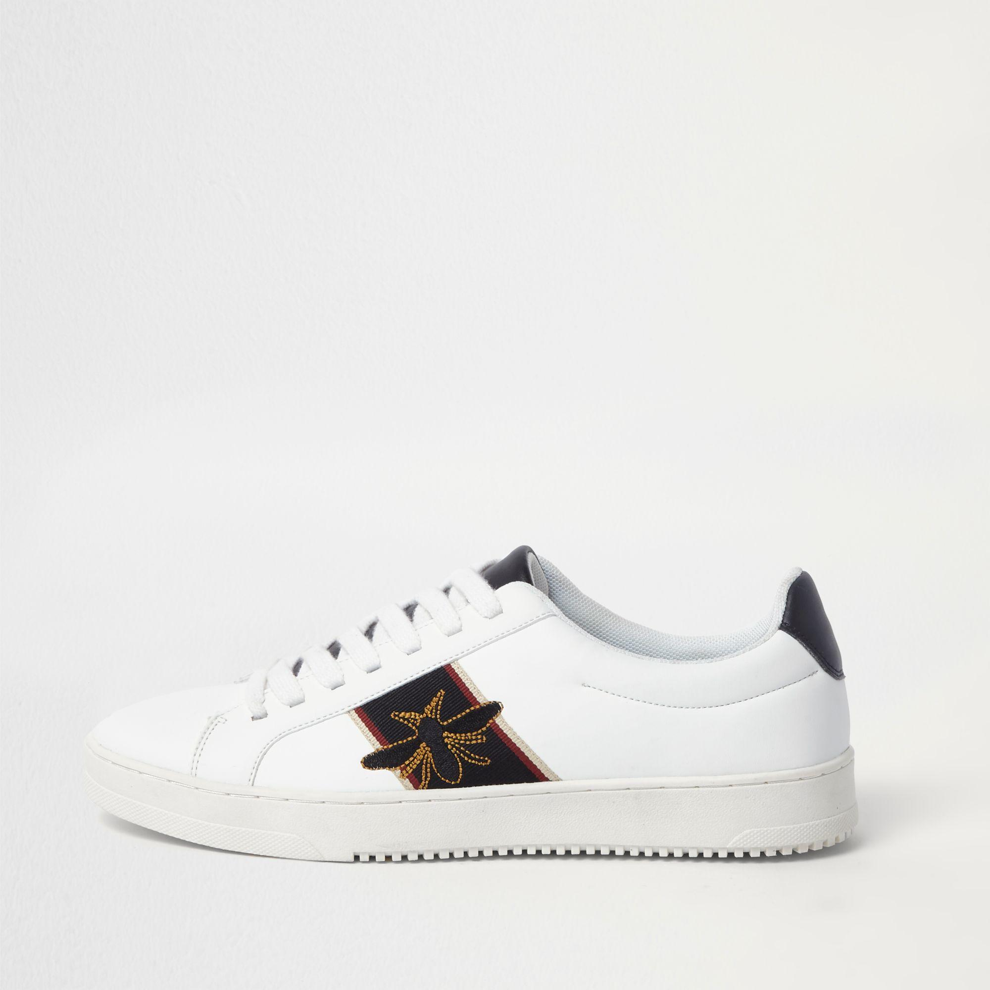 00866e3f454 River Island White Wasp Embroidered Trainers in White for Men - Lyst