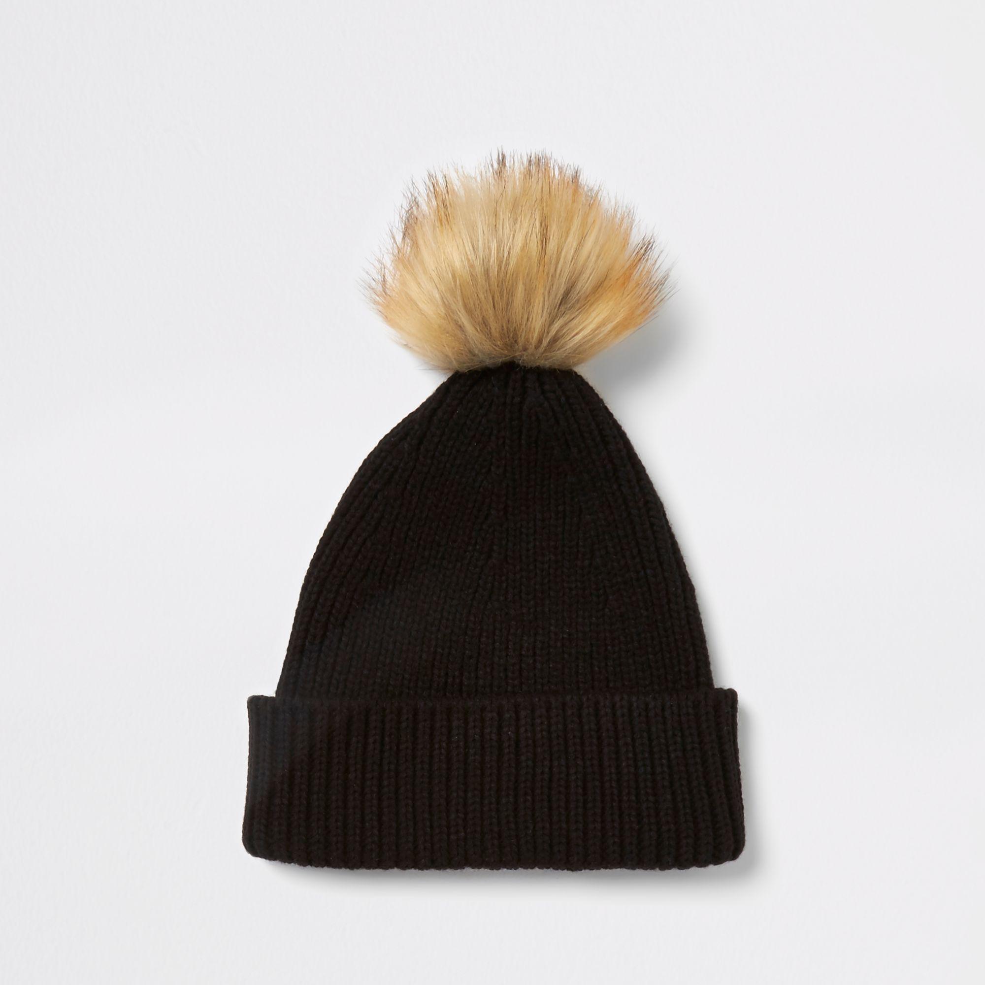 0b330f2f01c Lyst - River Island Black Fisherman Knit Faux Fur Pom Beanie Hat in ...