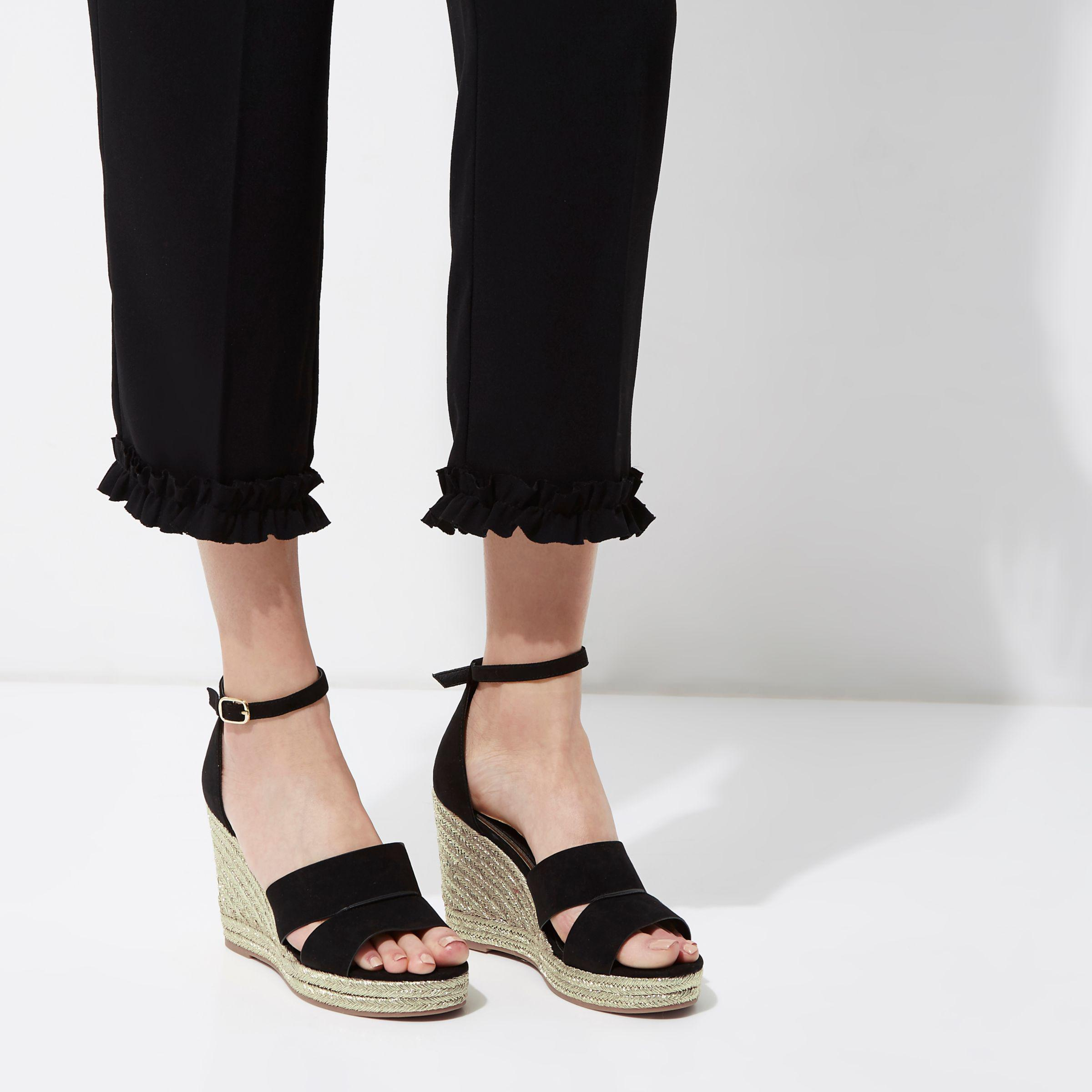 de77d737a2a River Island Black Strappy Gold Espadrille Wedges in Black - Lyst