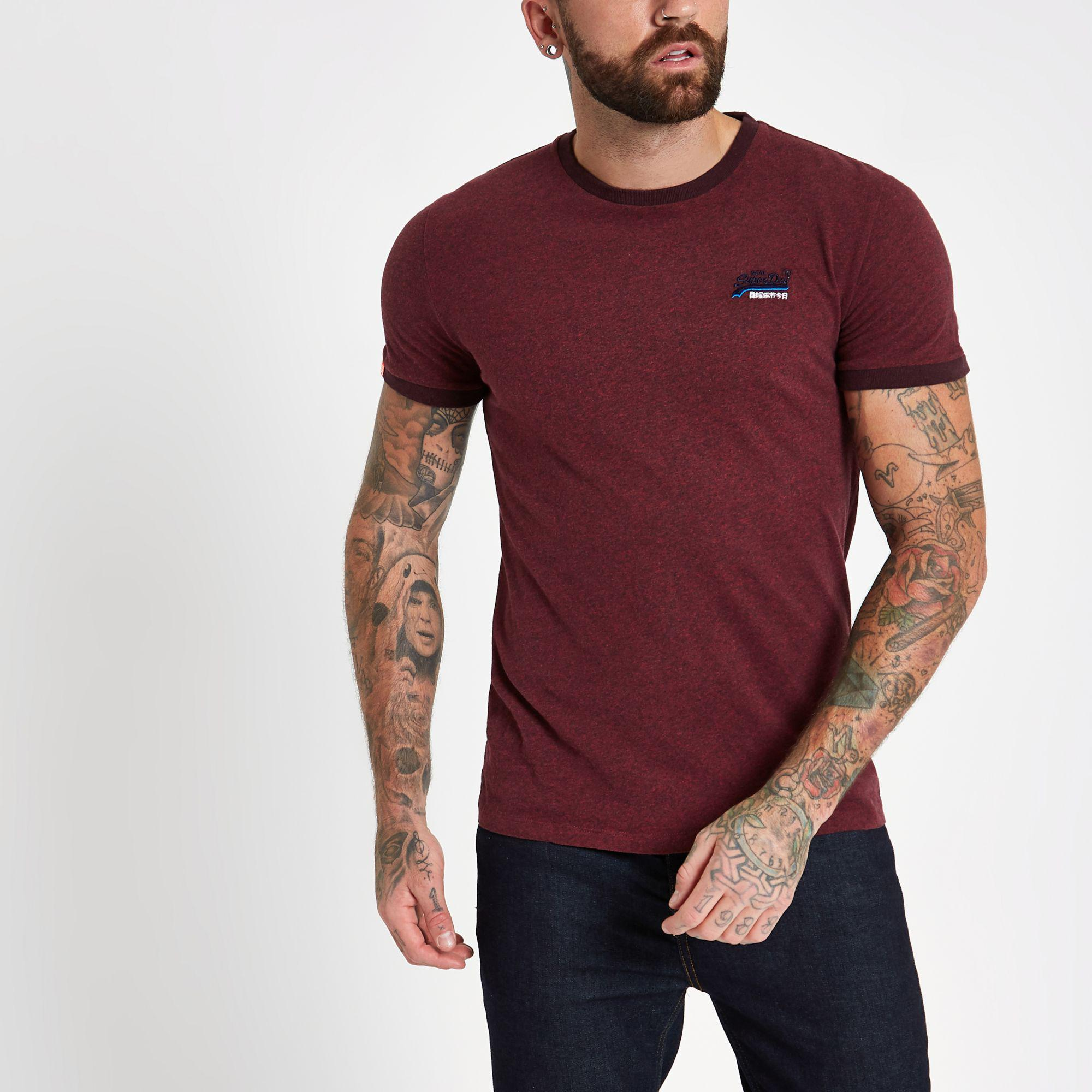 ab1ec4ab19ed Lyst - River Island Superdry Burgundy Crew Neck T-shirt in Red for Men