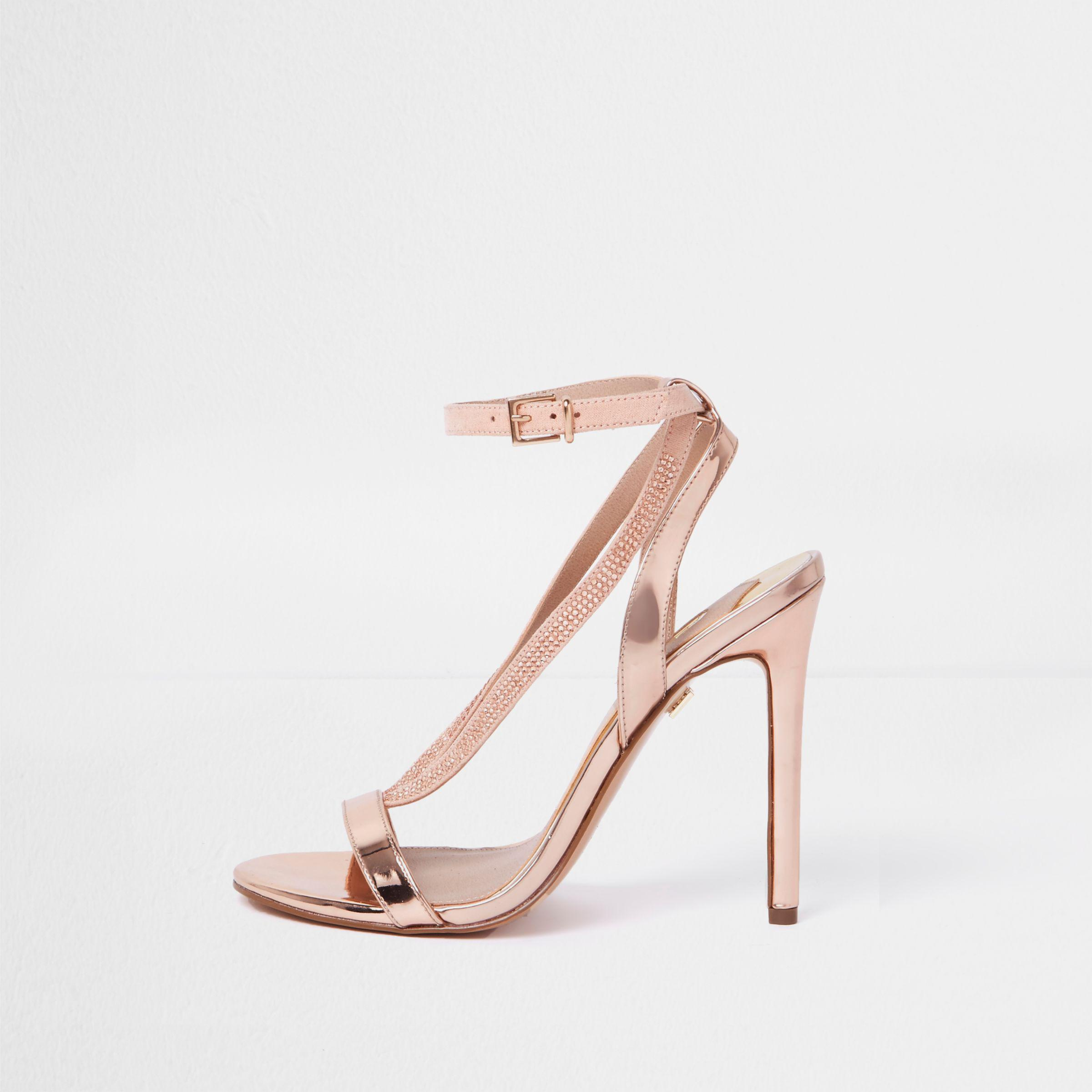 53a01f7e739 Lyst - River Island Rose Gold Wide Fit Barely There Sandals in Pink