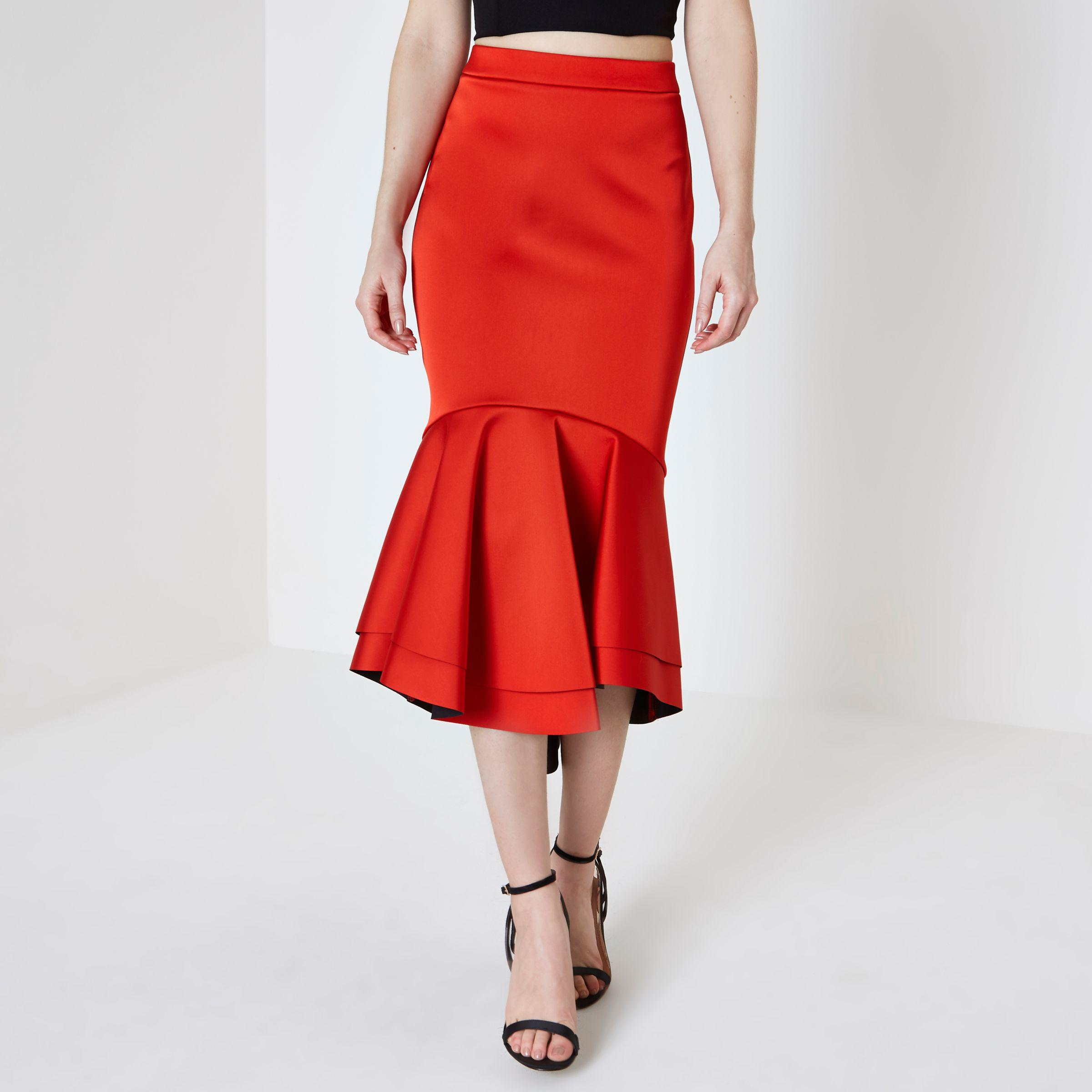 420aa82d77 River Island Red Tiered Fishtail Hem Satin Pencil Skirt in Red - Lyst