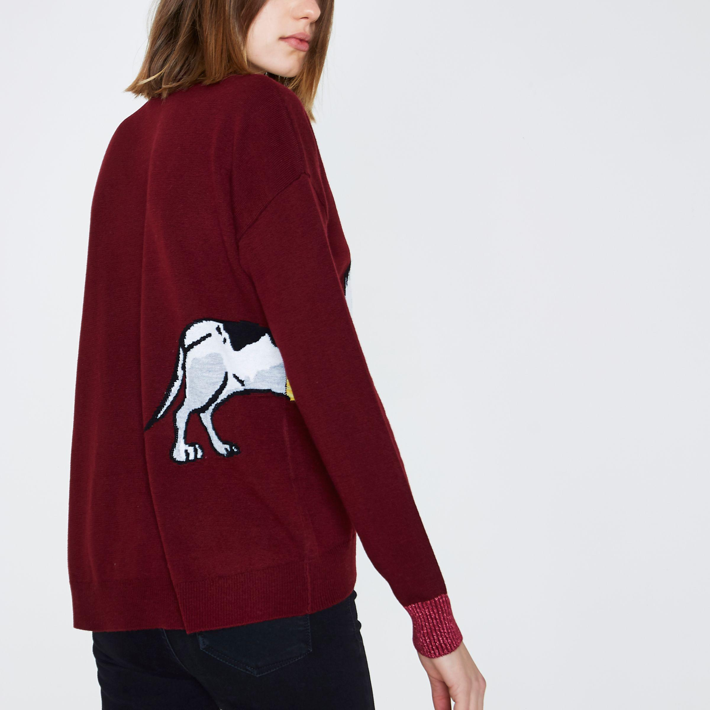 River Island Red Christmas Sausage Dog High Neck Jumper In Red Lyst