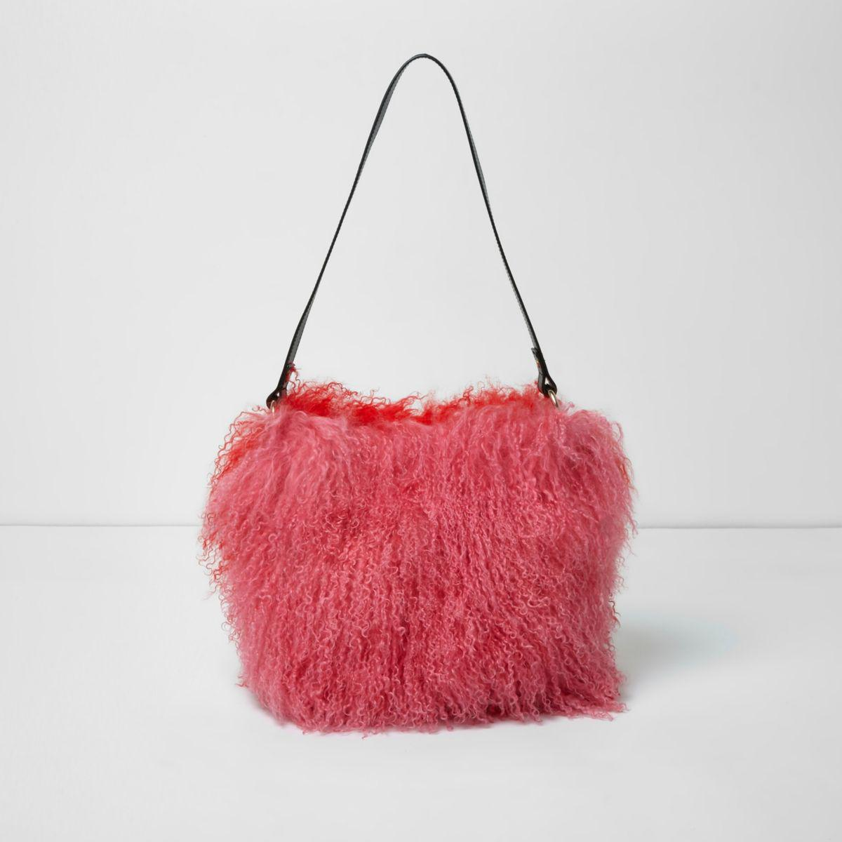 bab5c97d2101 Lyst - River Island Pink And Red Mongolian Fur Leather Bucket Bag in ...