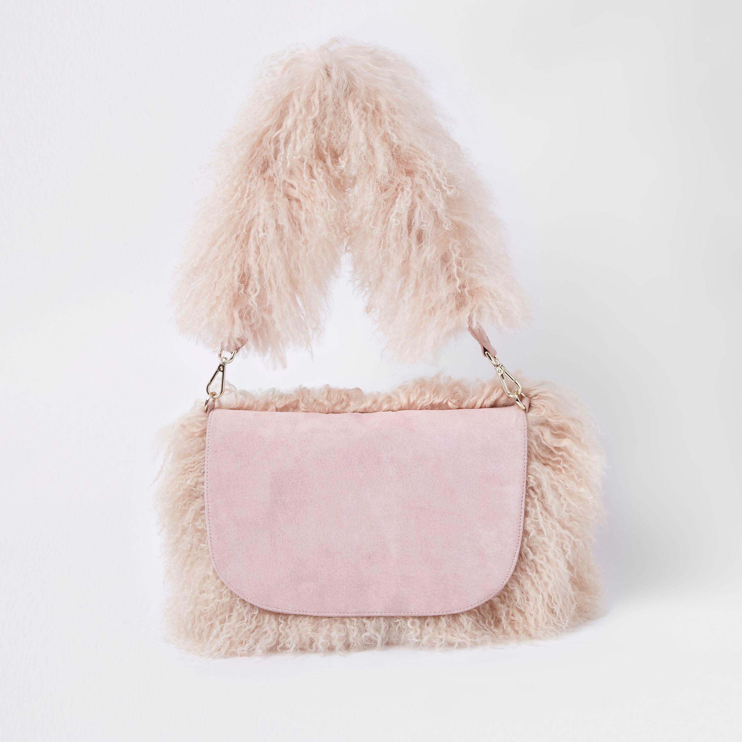 8d0c78e88ac6 Lyst - River Island Light Pink Faux Mongolian Shoulder Bag in Pink